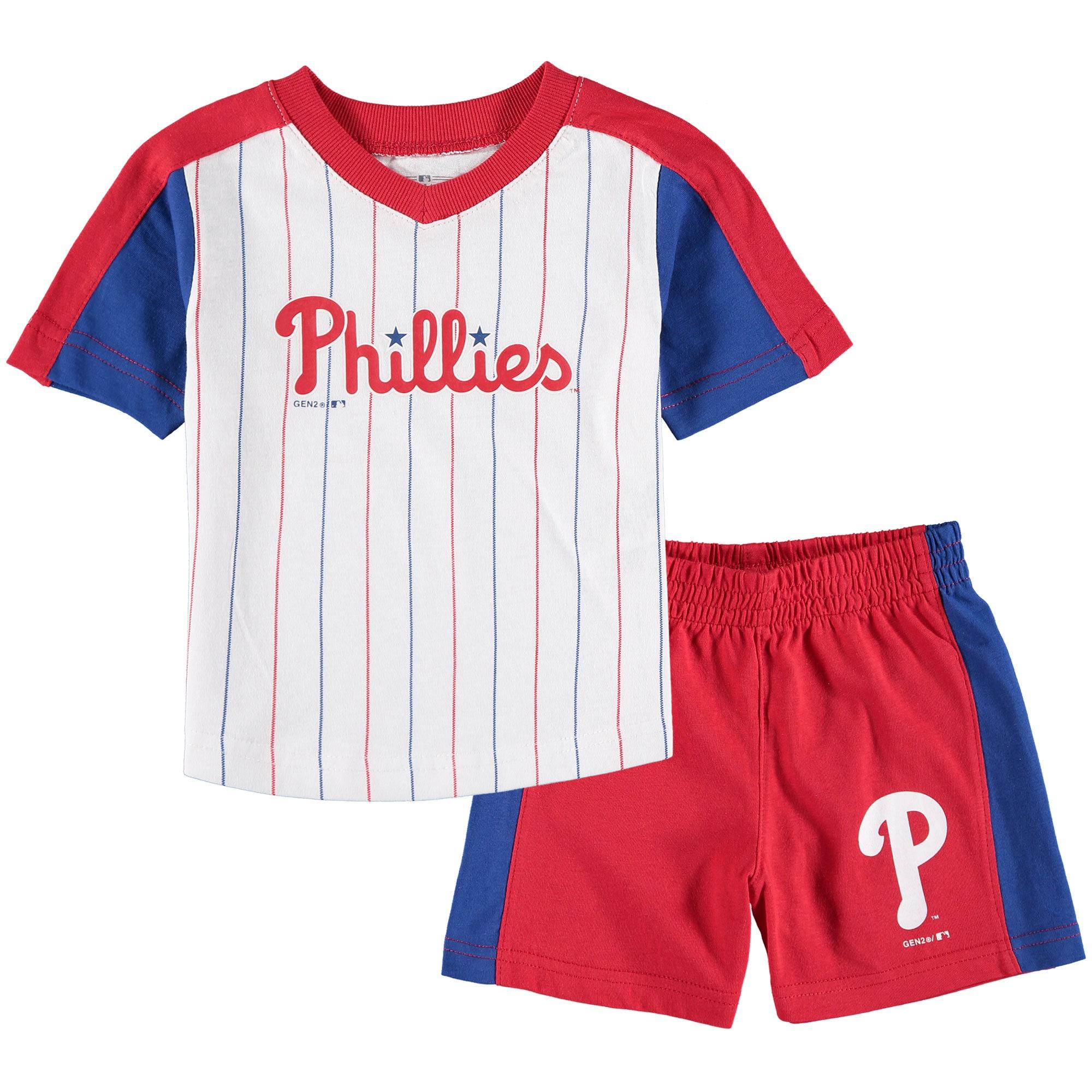 Philadelphia Phillies Infant The Lineup T-Shirt & Shorts Set - White/Red