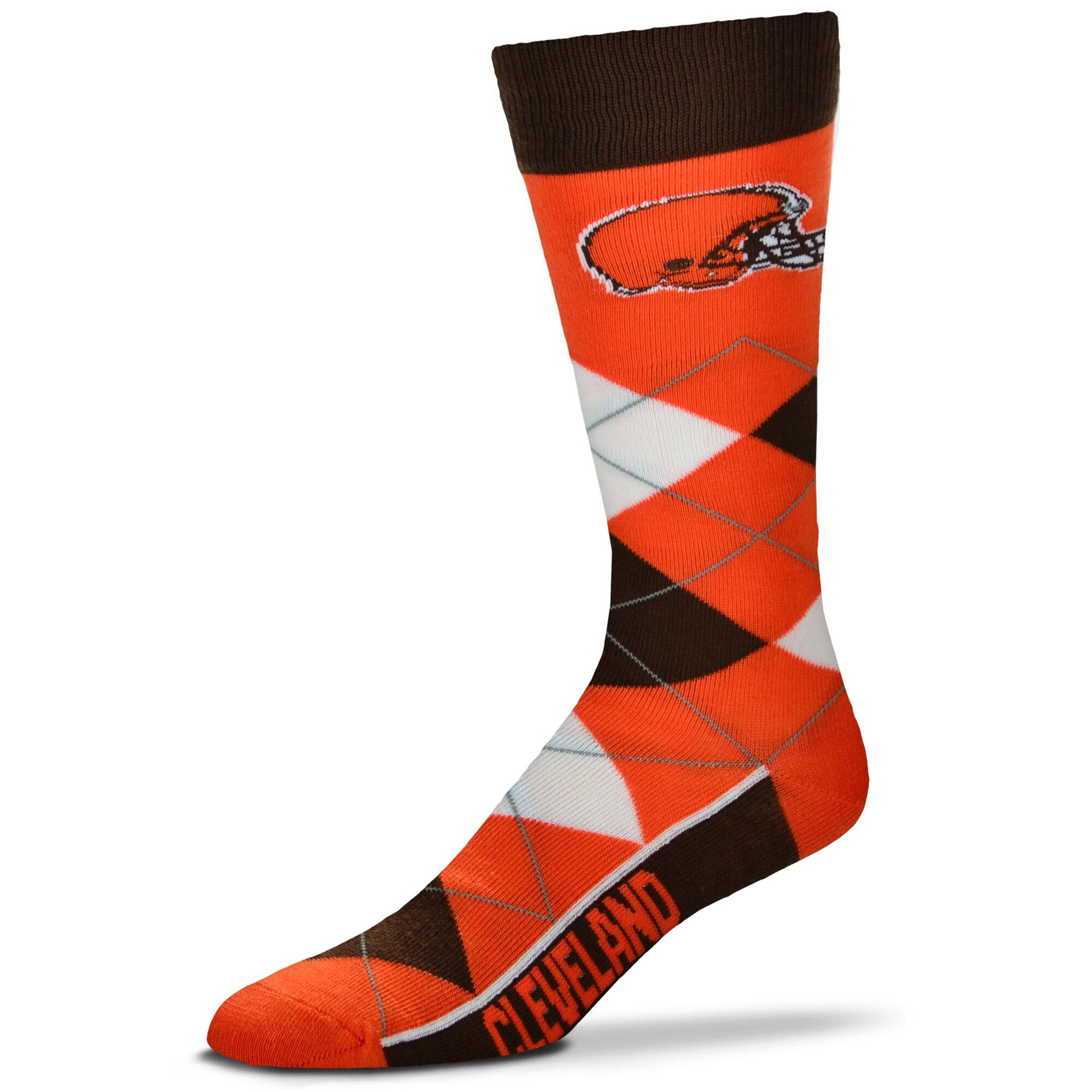 Cleveland Browns For Bare Feet Argyle Crew Socks
