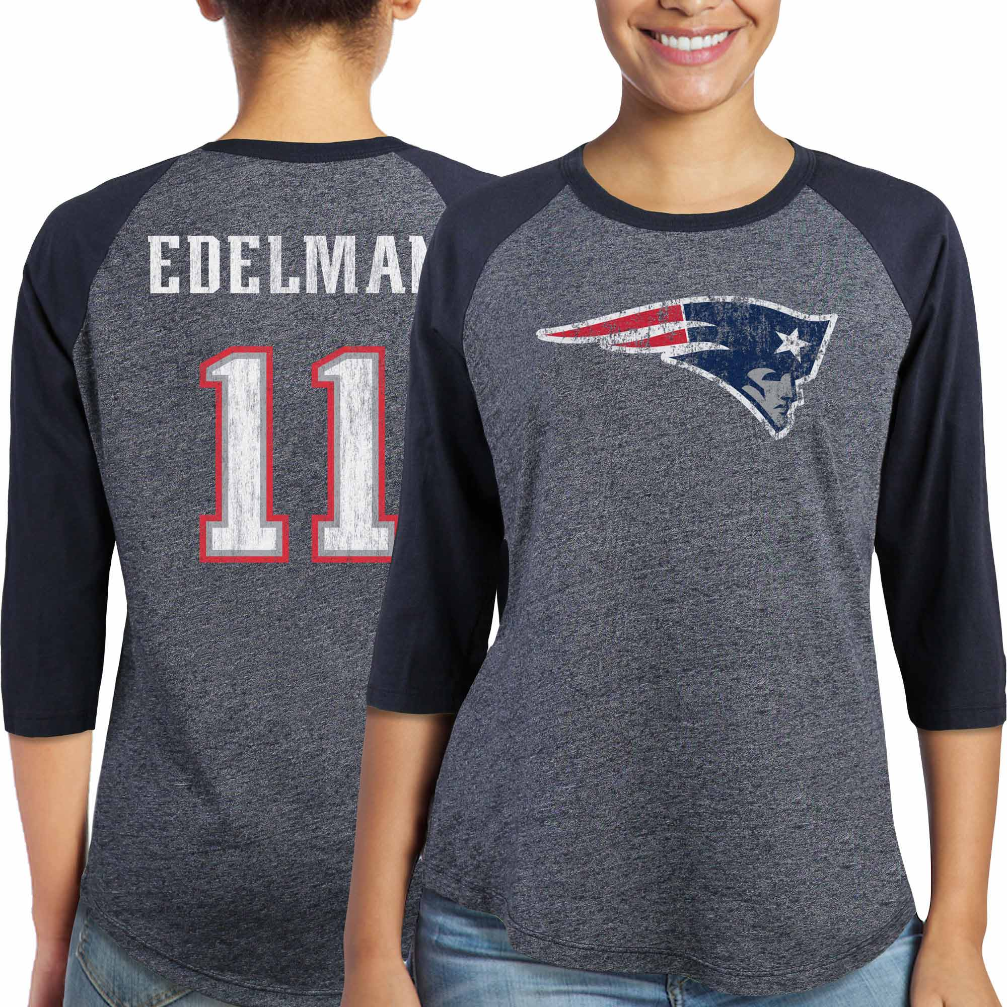 Julian Edelman New England Patriots Majestic Women's Player Name & Number Tri-Blend Three-Quarter Sleeve T-Shirt - Navy