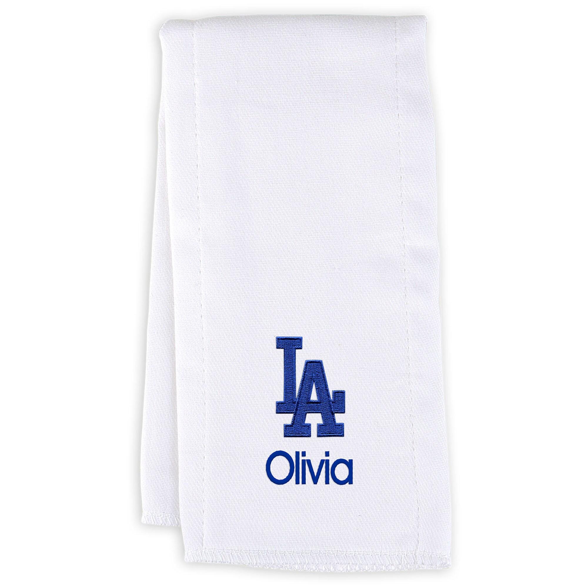 Los Angeles Dodgers Infant Personalized Burp Cloth - White