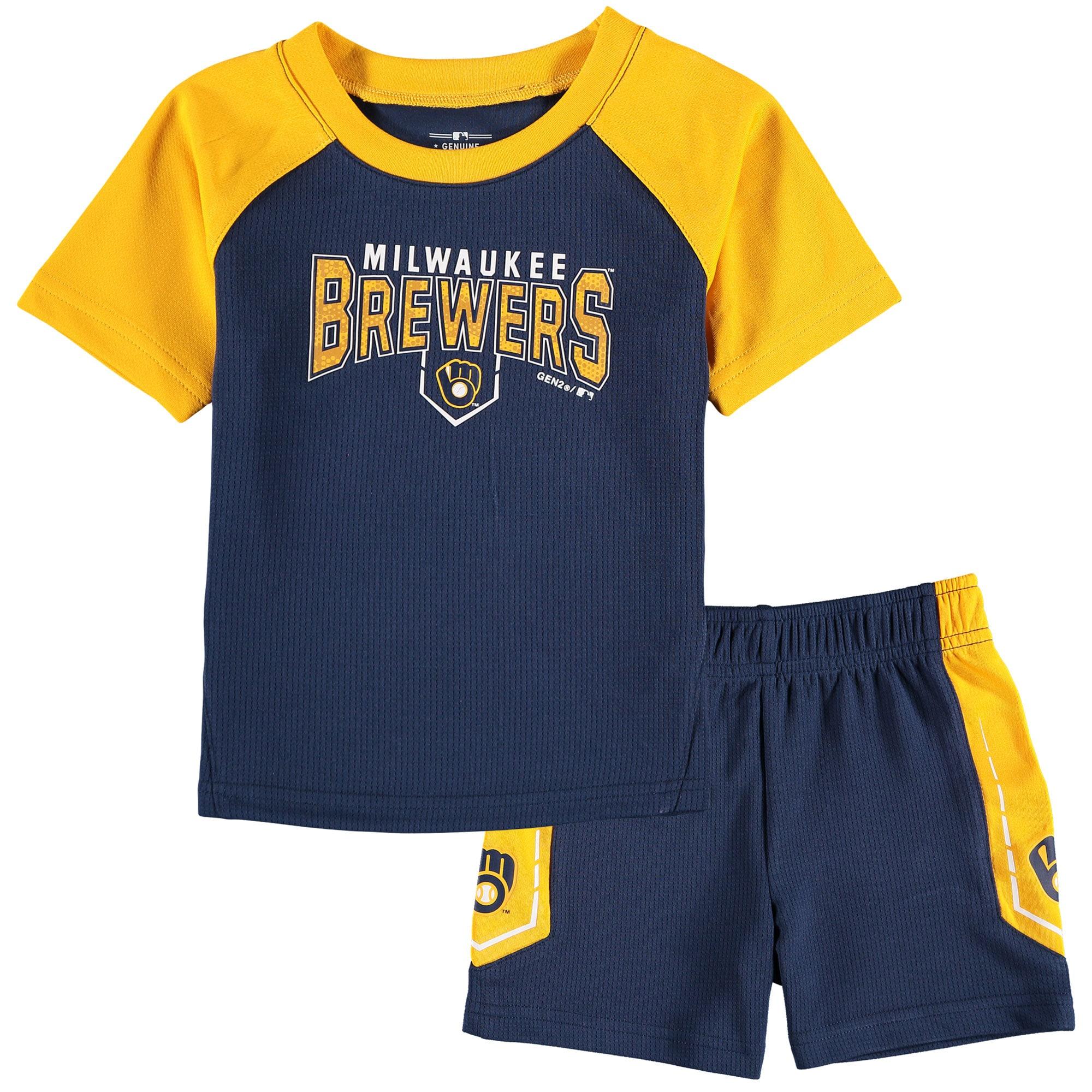 Milwaukee Brewers Infant Follow Through T-Shirt & Shorts Set - Navy/Gold