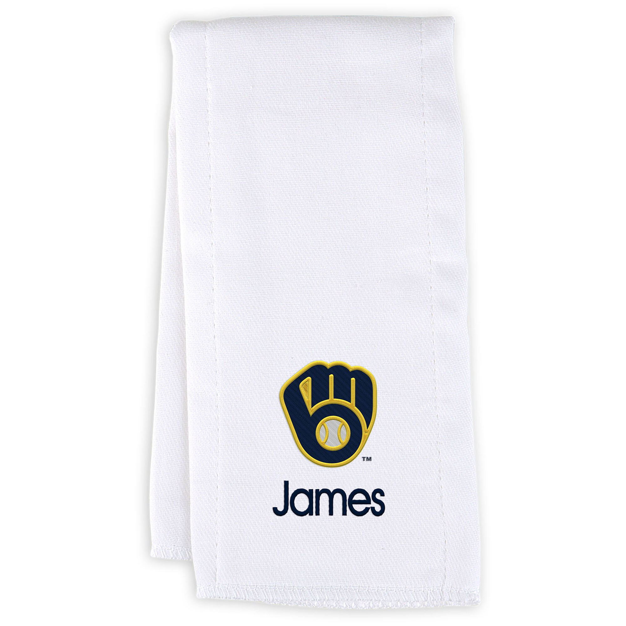 Milwaukee Brewers Infant Personalized Burp Cloth - White