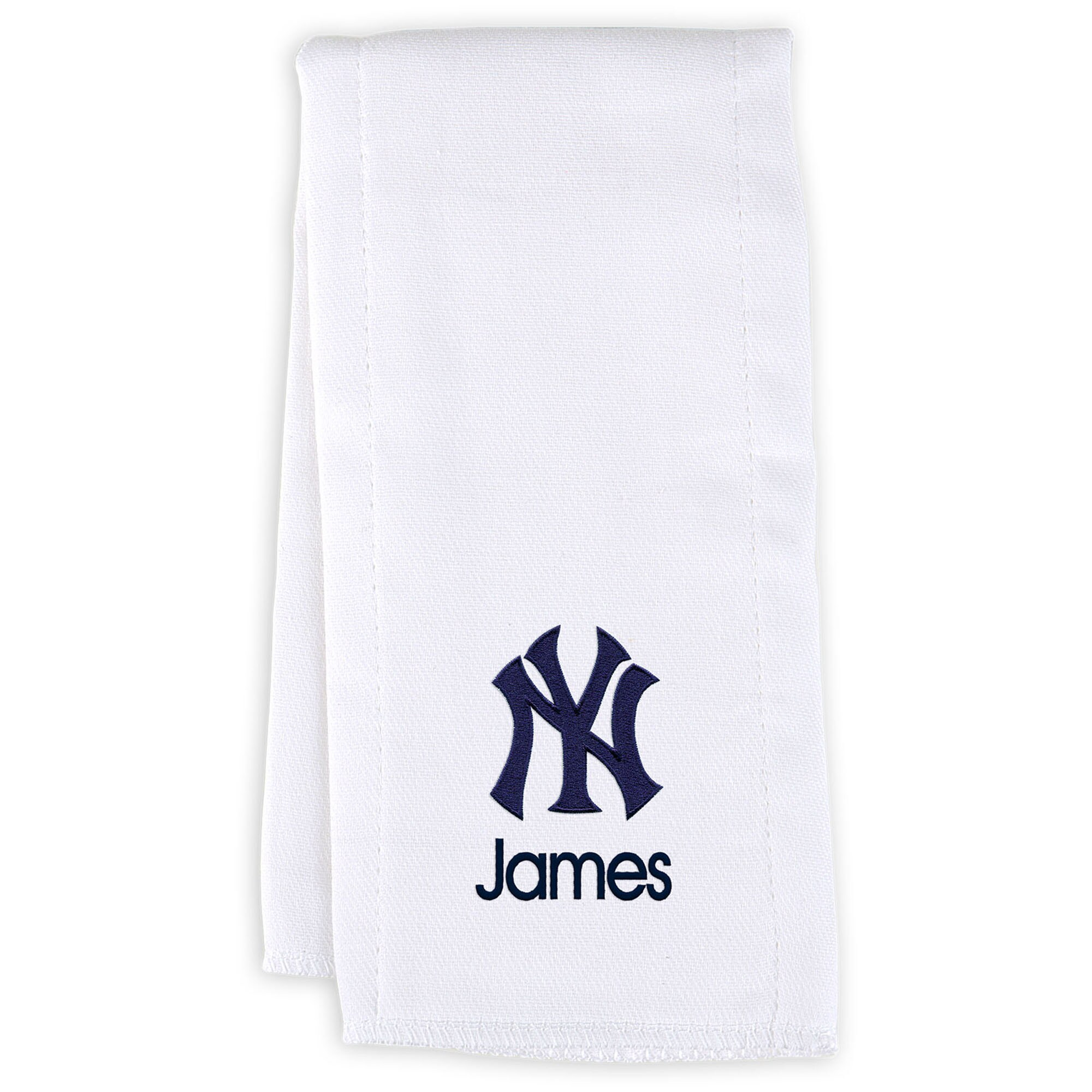 New York Yankees Infant Personalized Burp Cloth - White