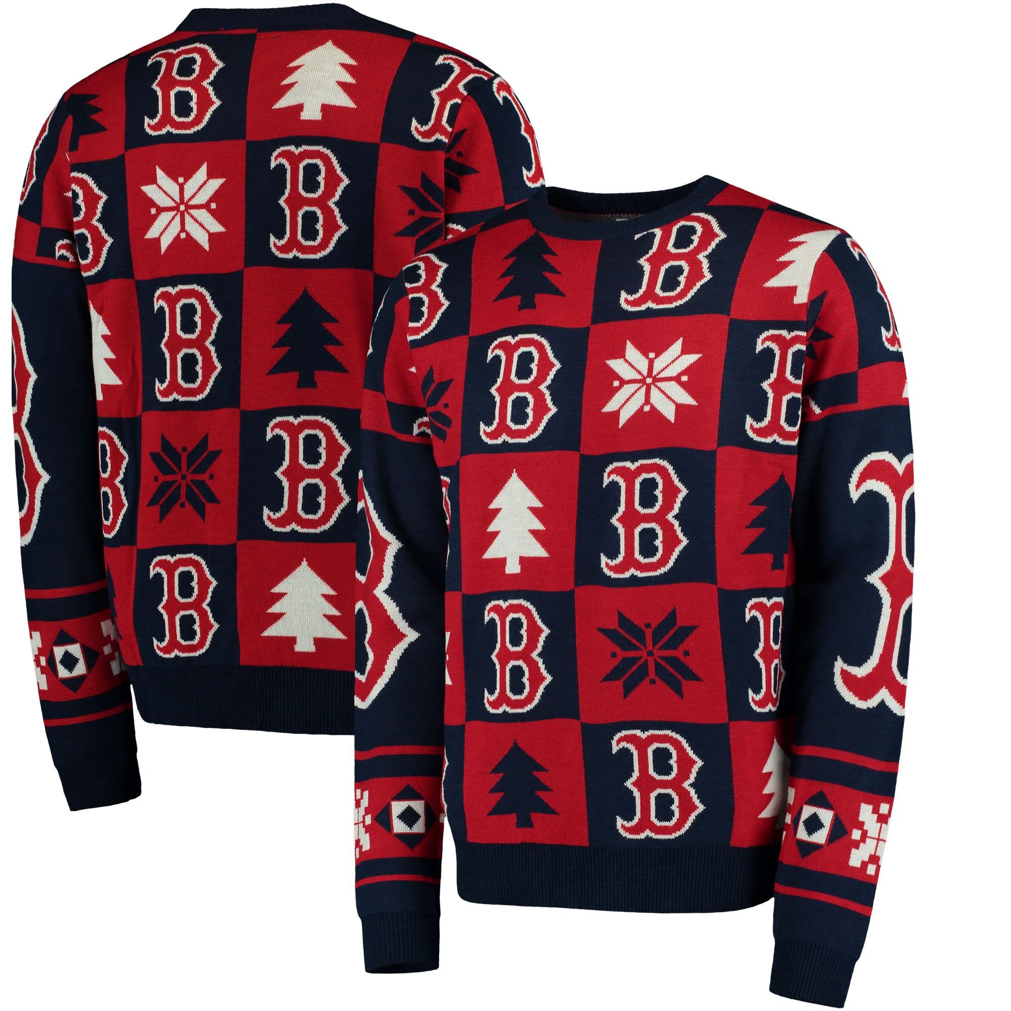 Boston Red Sox Patches Ugly Pullover Sweater - Navy