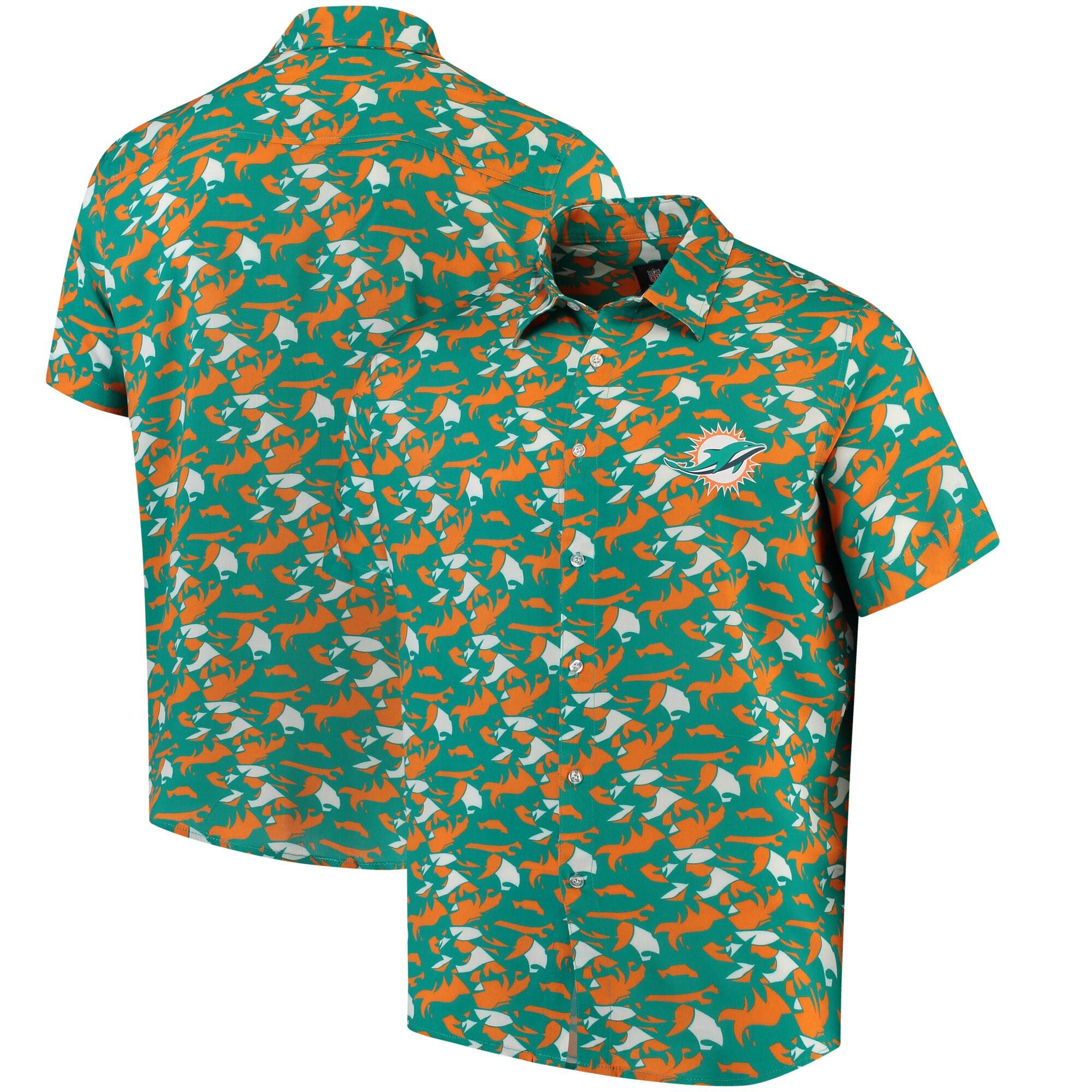 Miami Dolphins NFLxFIT Quicksnap Woven Shirt - Aqua/Orange