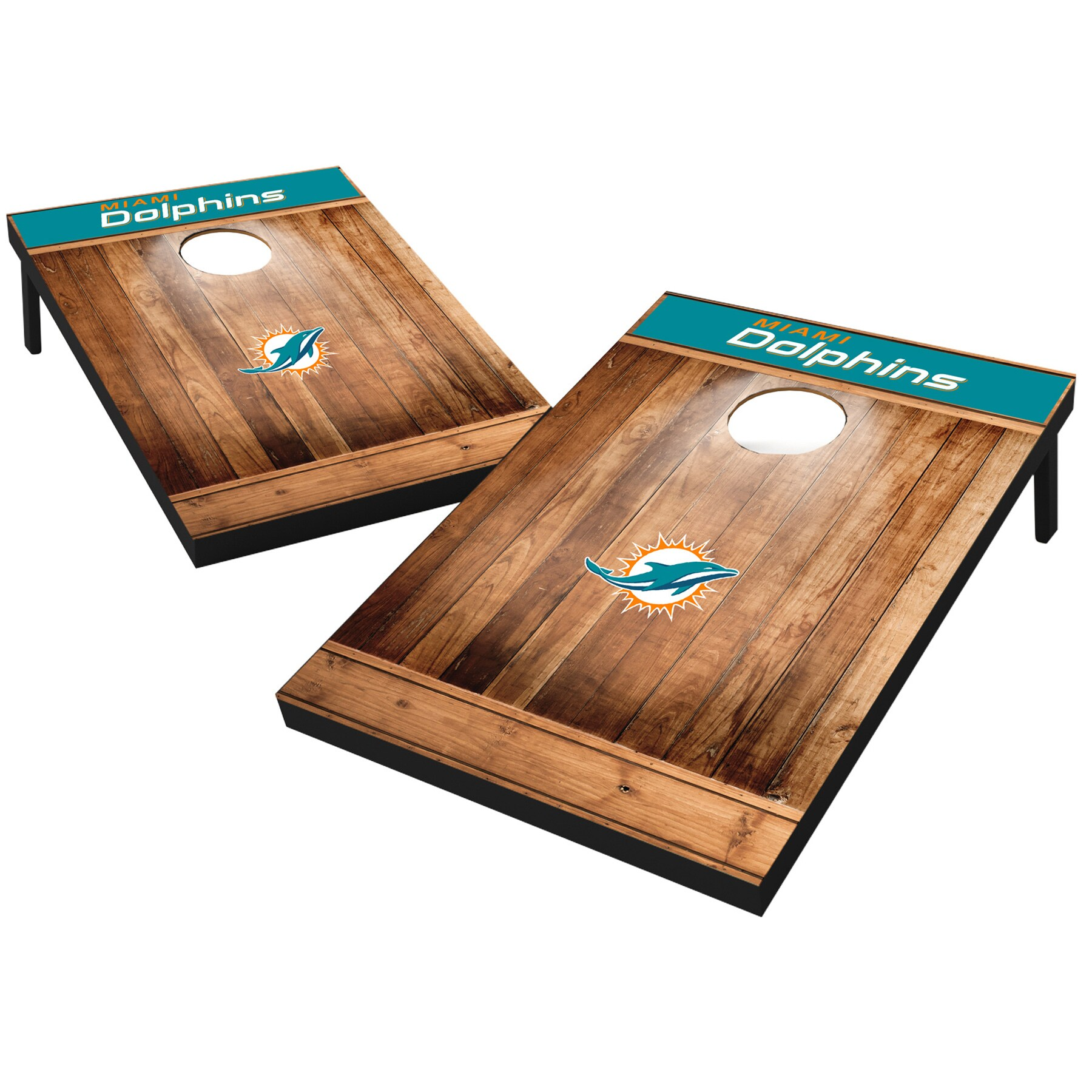 Miami Dolphins 2' x 3' Wood Design Cornhole Board Tailgate Toss Set
