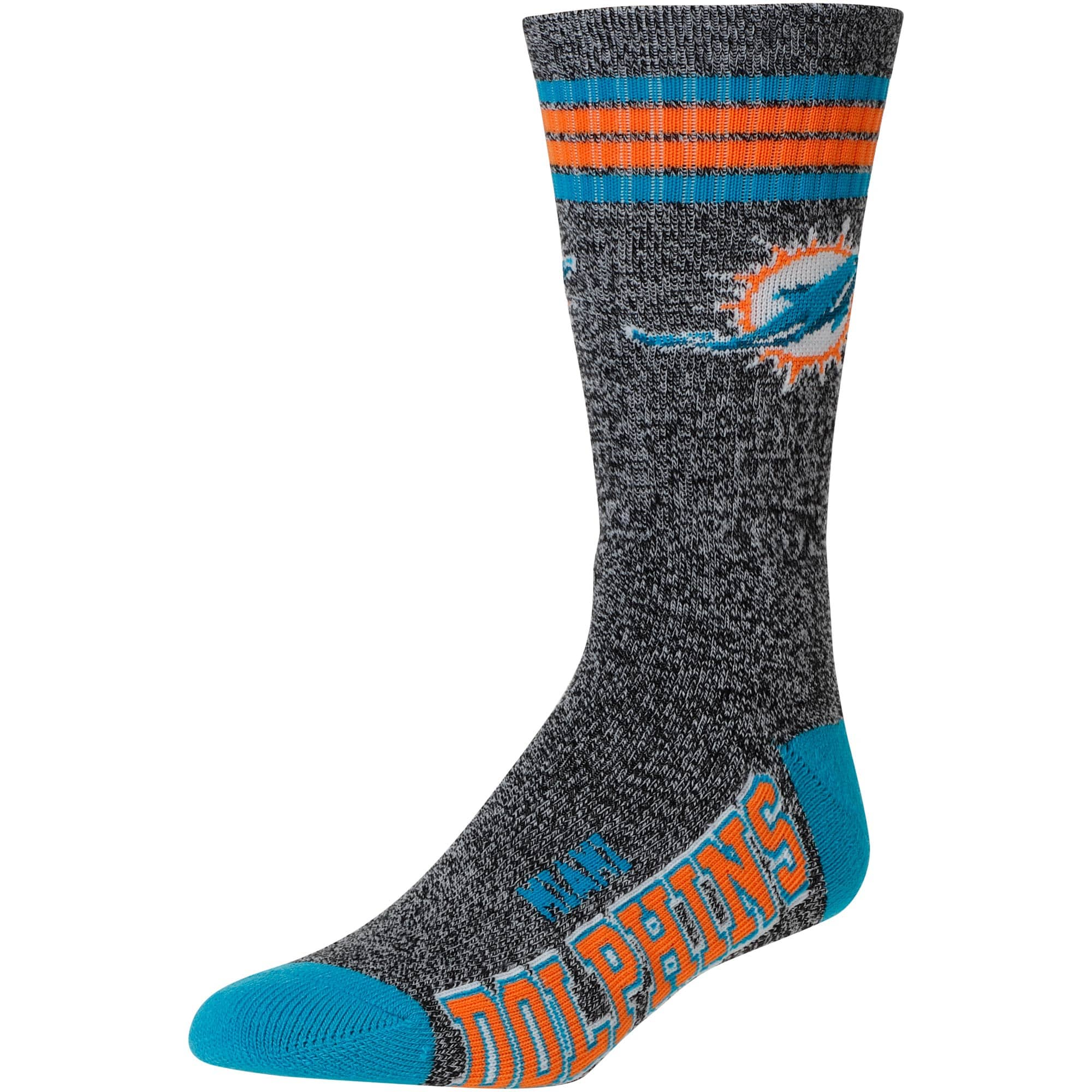 Miami Dolphins For Bare Feet Got Marble Crew Socks - Gray