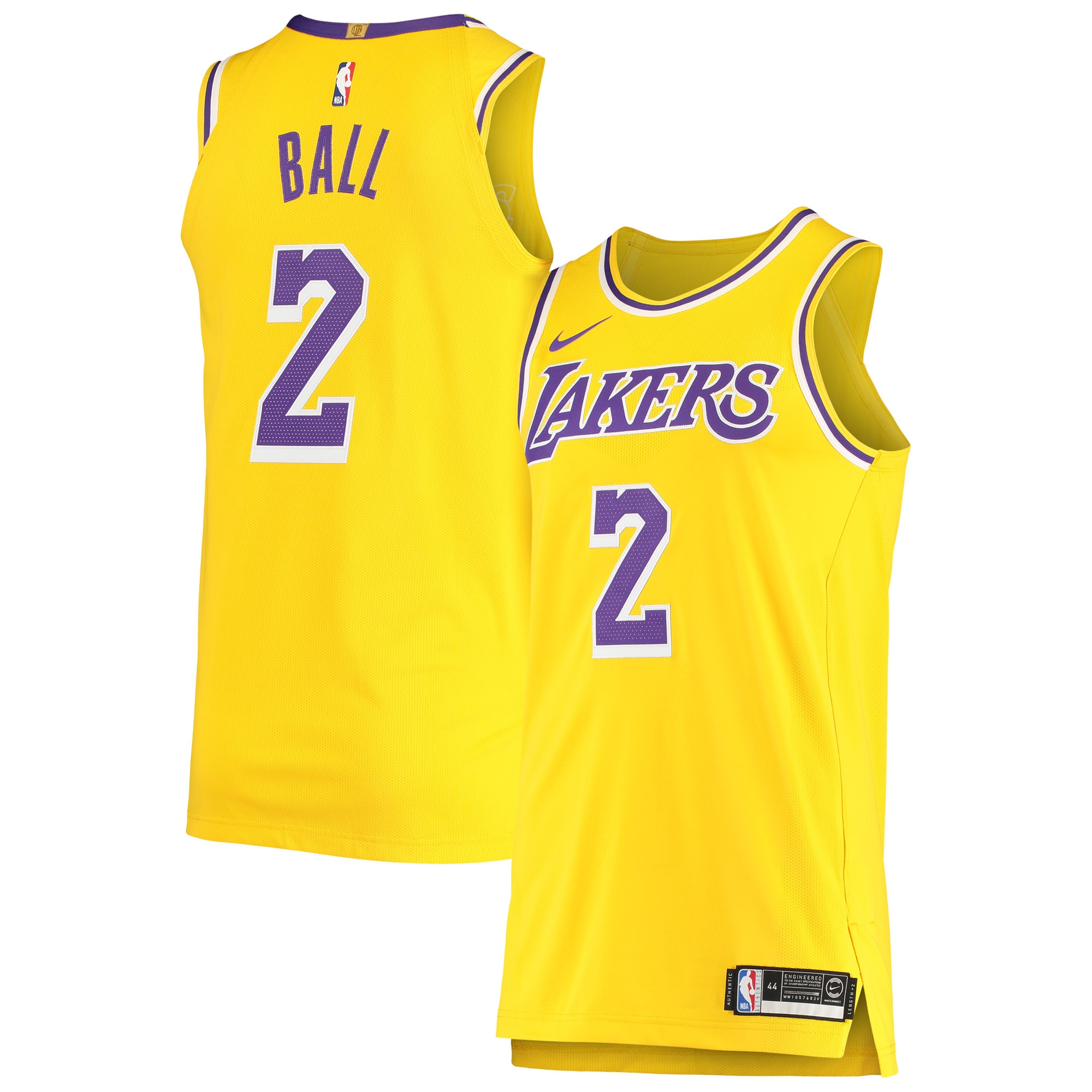 Lonzo Ball Los Angeles Lakers Nike Authentic Player Jersey - Gold - Icon Edition
