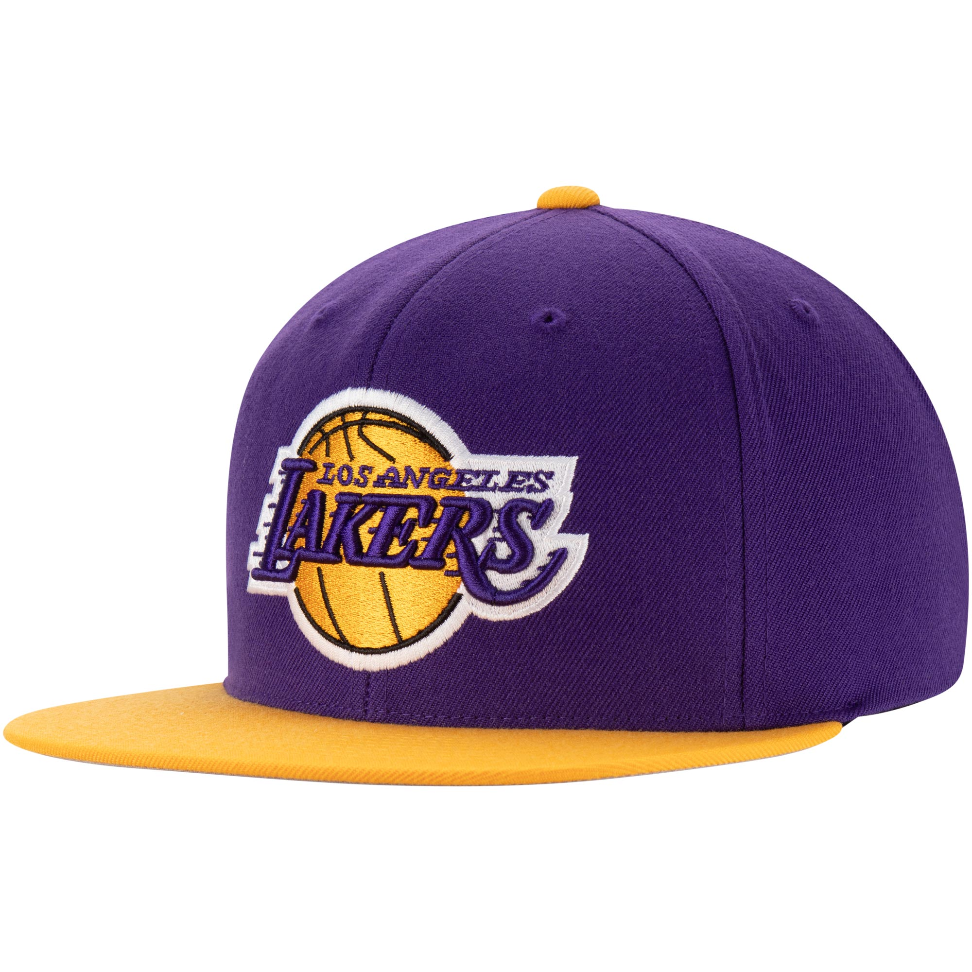 Los Angeles Lakers Mitchell & Ness Two-Tone Wool Snapback Hat - Purple/Gold