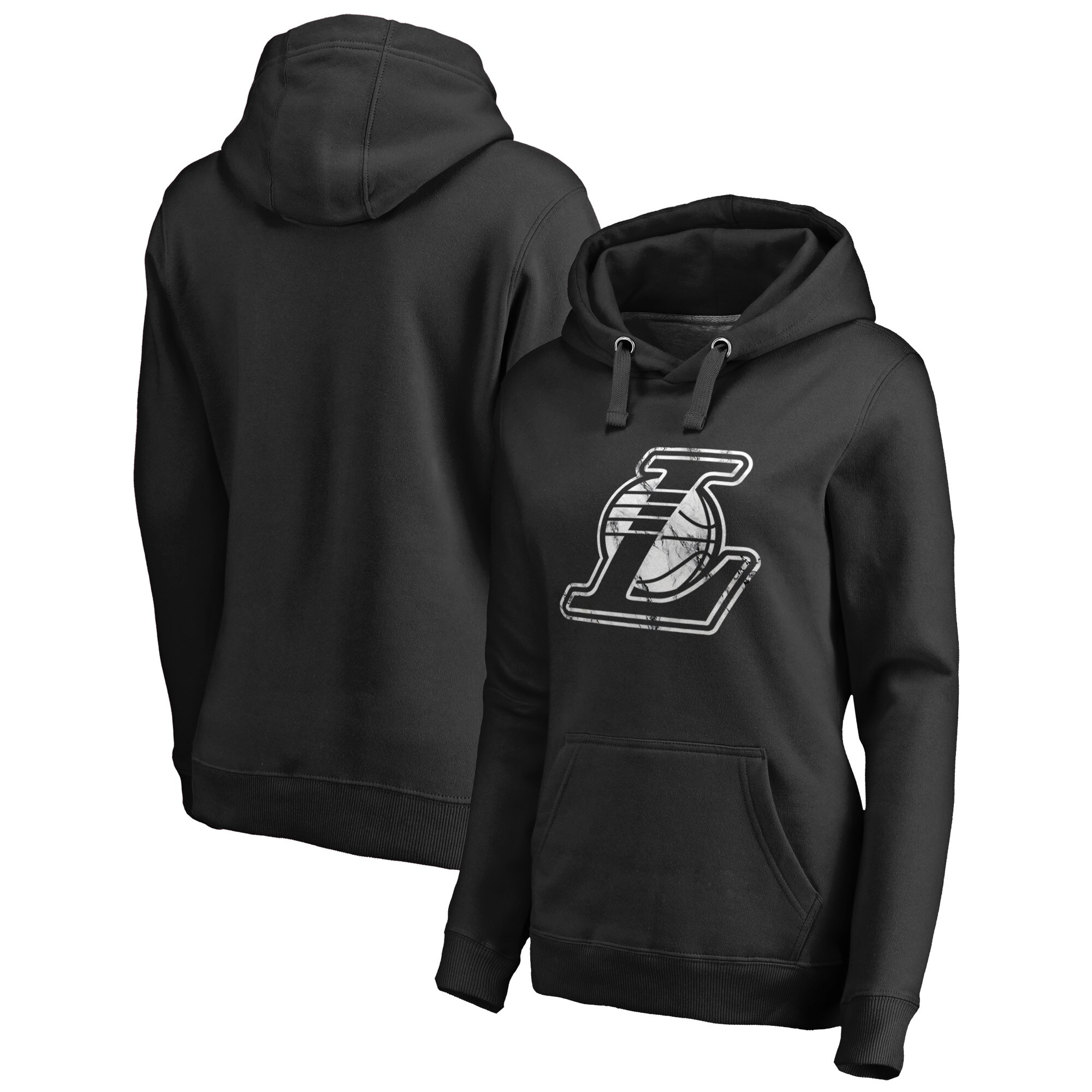 Los Angeles Lakers Fanatics Branded Women's Marble Logo Pullover Hoodie - Black