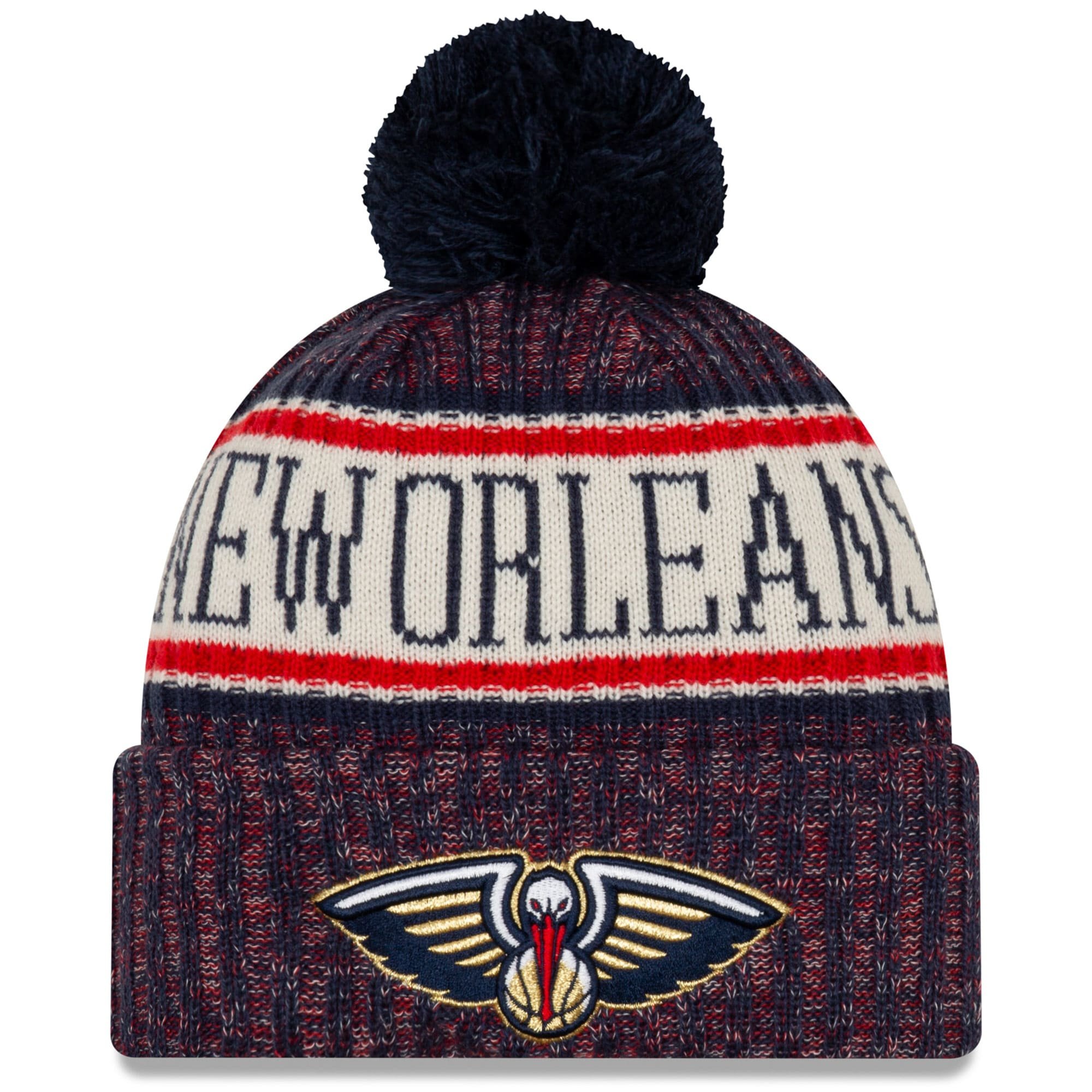 New Orleans Pelicans New Era Sport Cuffed Knit Hat with Pom - Navy