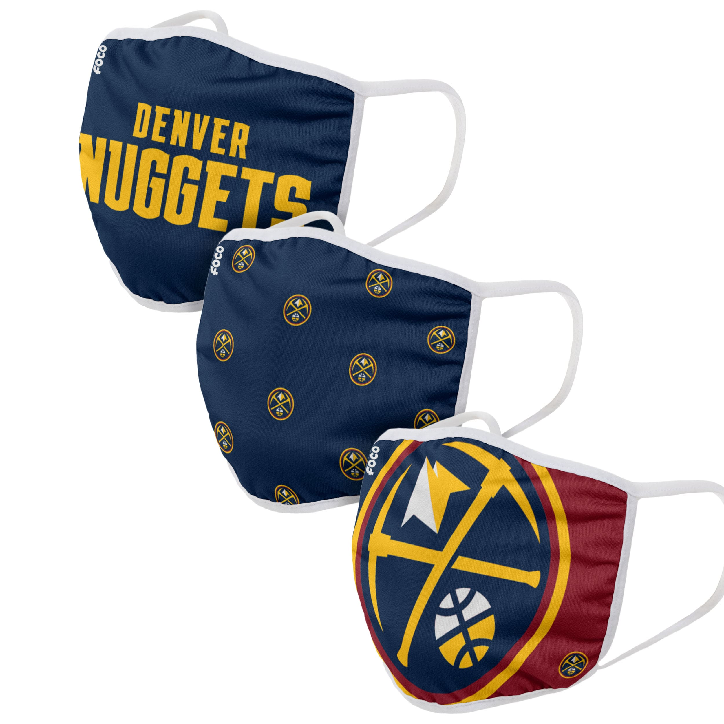 Denver Nuggets FOCO Face Covering (Size Small) 3-Pack