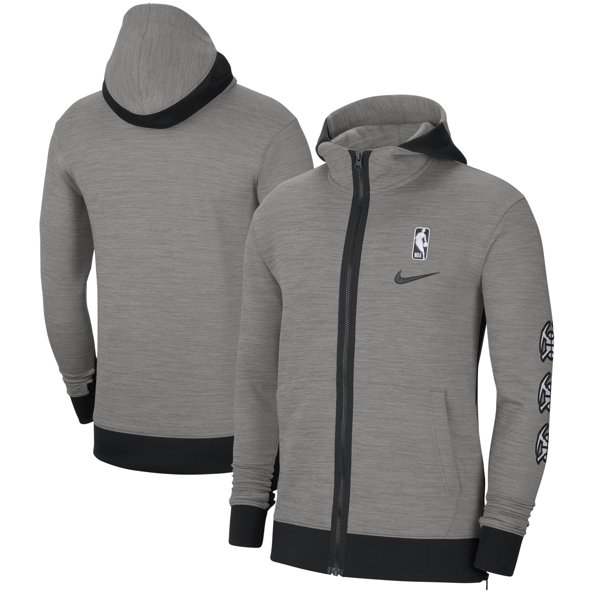 Denver Nuggets Nike Authentic Showtime Performance Full-Zip Hoodie Jacket - Heathered Charcoal
