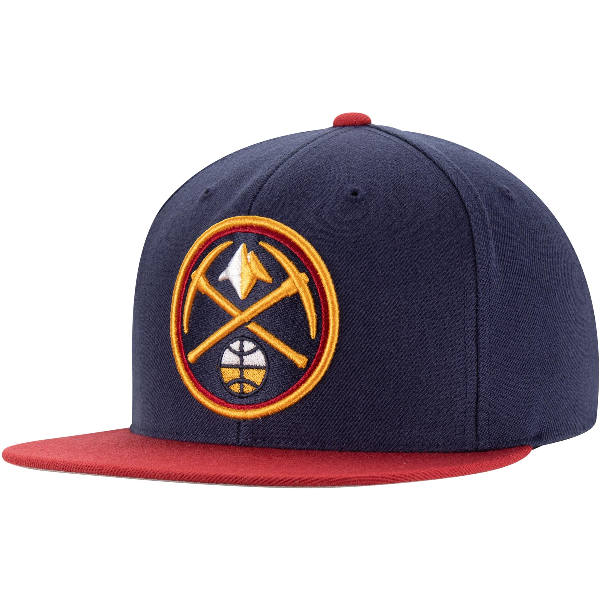 Denver Nuggets Mitchell & Ness Two-Tone Wool Snapback Hat - Navy/Red