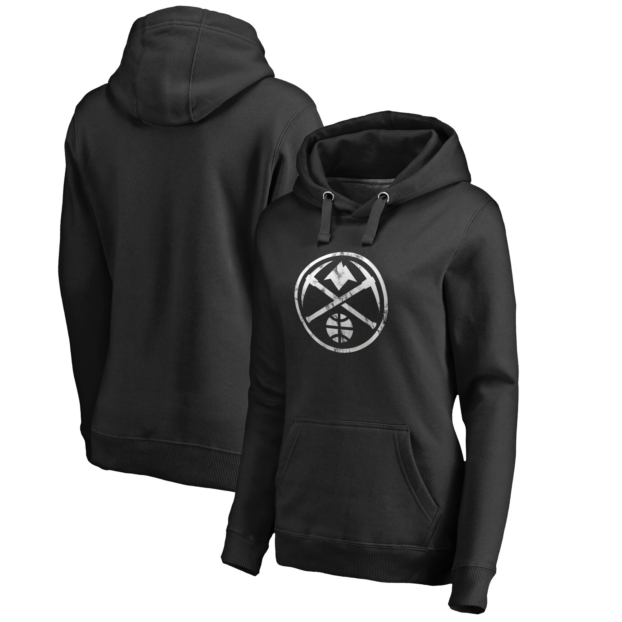 Denver Nuggets Fanatics Branded Women's Marble Logo Pullover Hoodie - Black