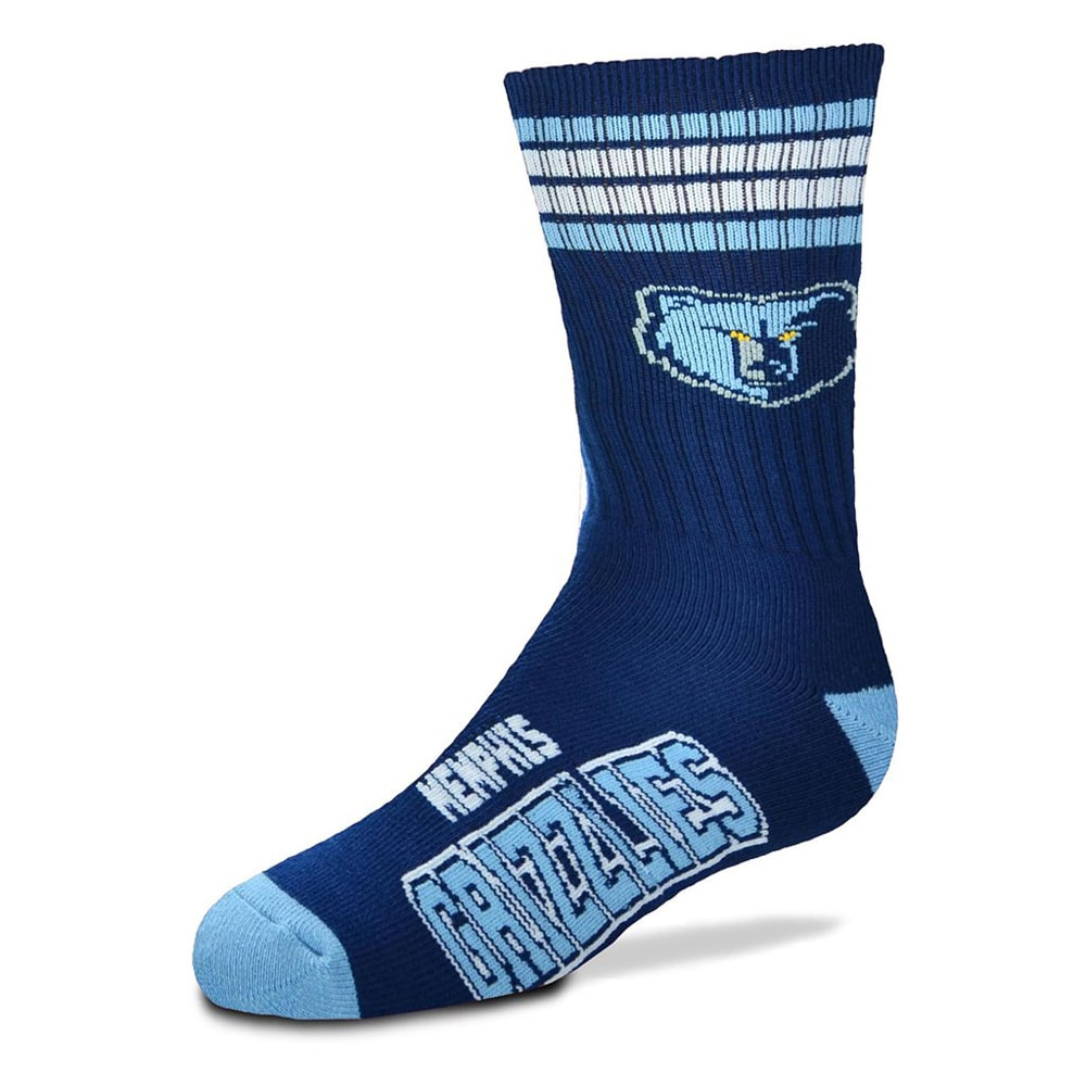 Memphis Grizzlies For Bare Feet Youth 4-Stripe Deuce Crew Socks
