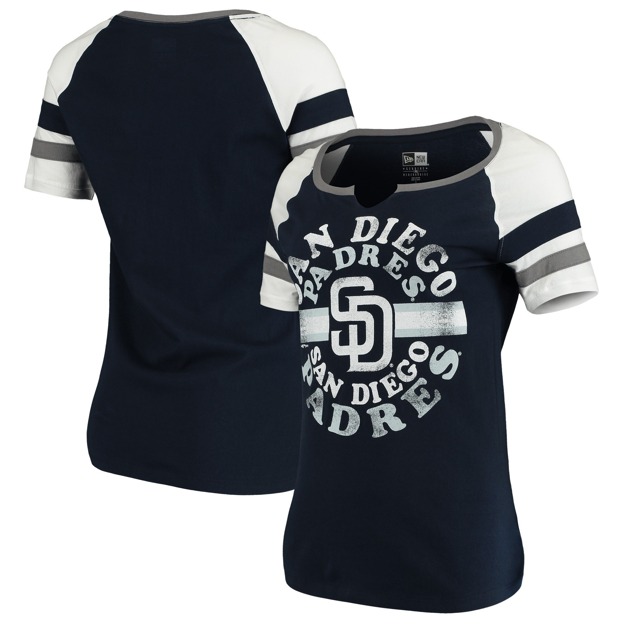 San Diego Padres New Era Women's Scoop Neck T-Shirt - Navy