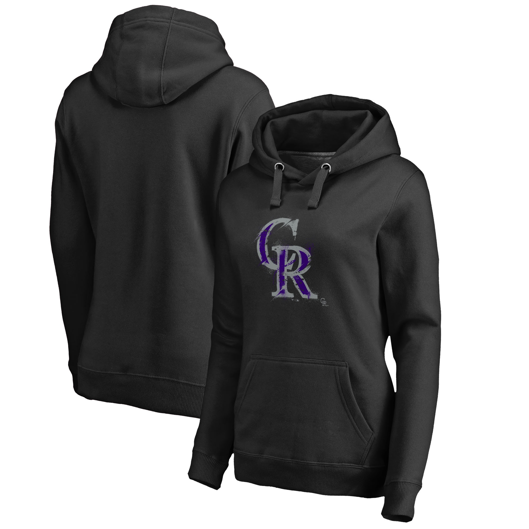 Colorado Rockies Fanatics Branded Women's Splatter Logo Pullover Hoodie - Black