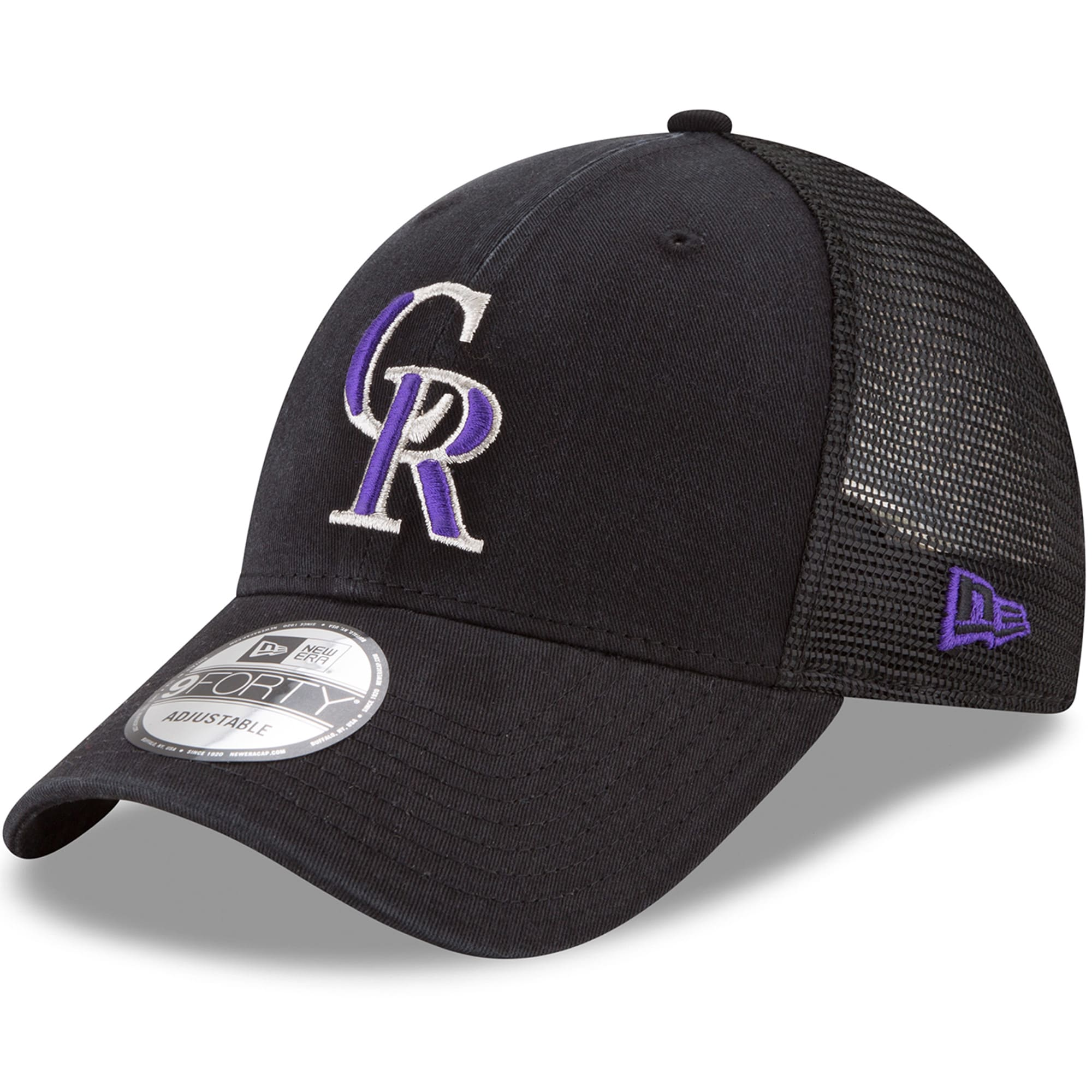 Colorado Rockies New Era Trucker 9FORTY Adjustable Snapback Hat - Black