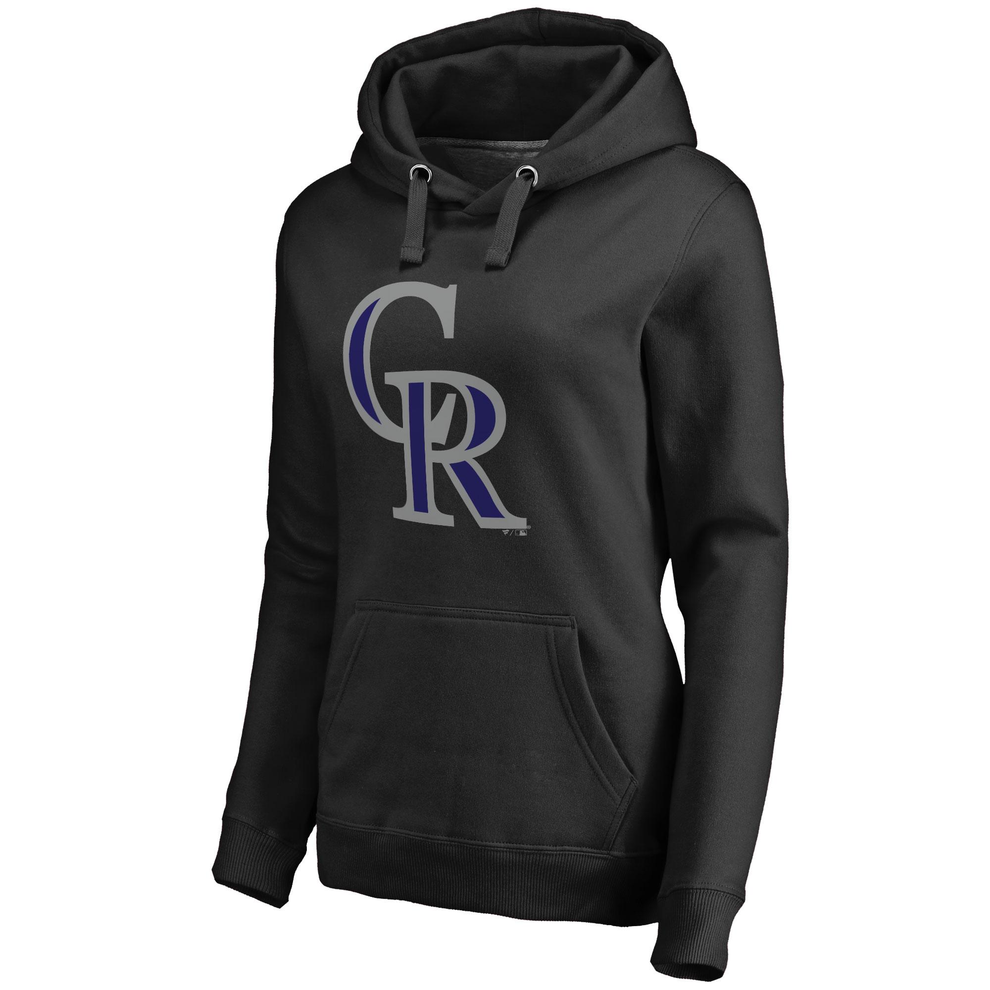Colorado Rockies Women's Team Color Primary Logo Pullover Hoodie - Black