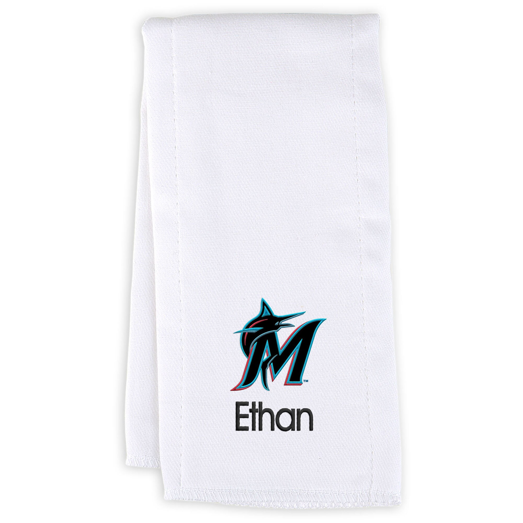Miami Marlins Infant Personalized Burp Cloth - White