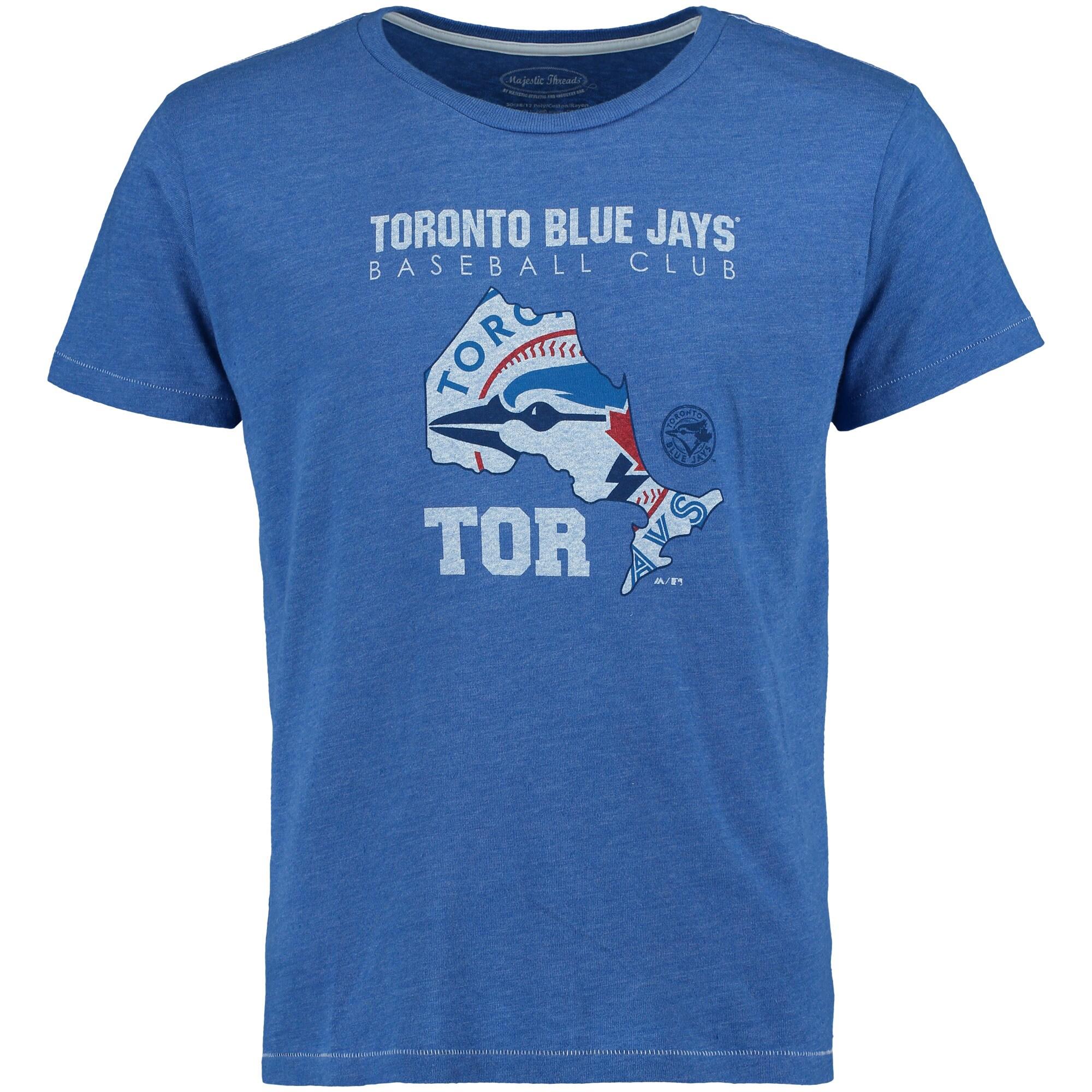 Toronto Blue Jays Majestic Threads State Sport Tri-Blend Contrast Stitch T-Shirt - Royal