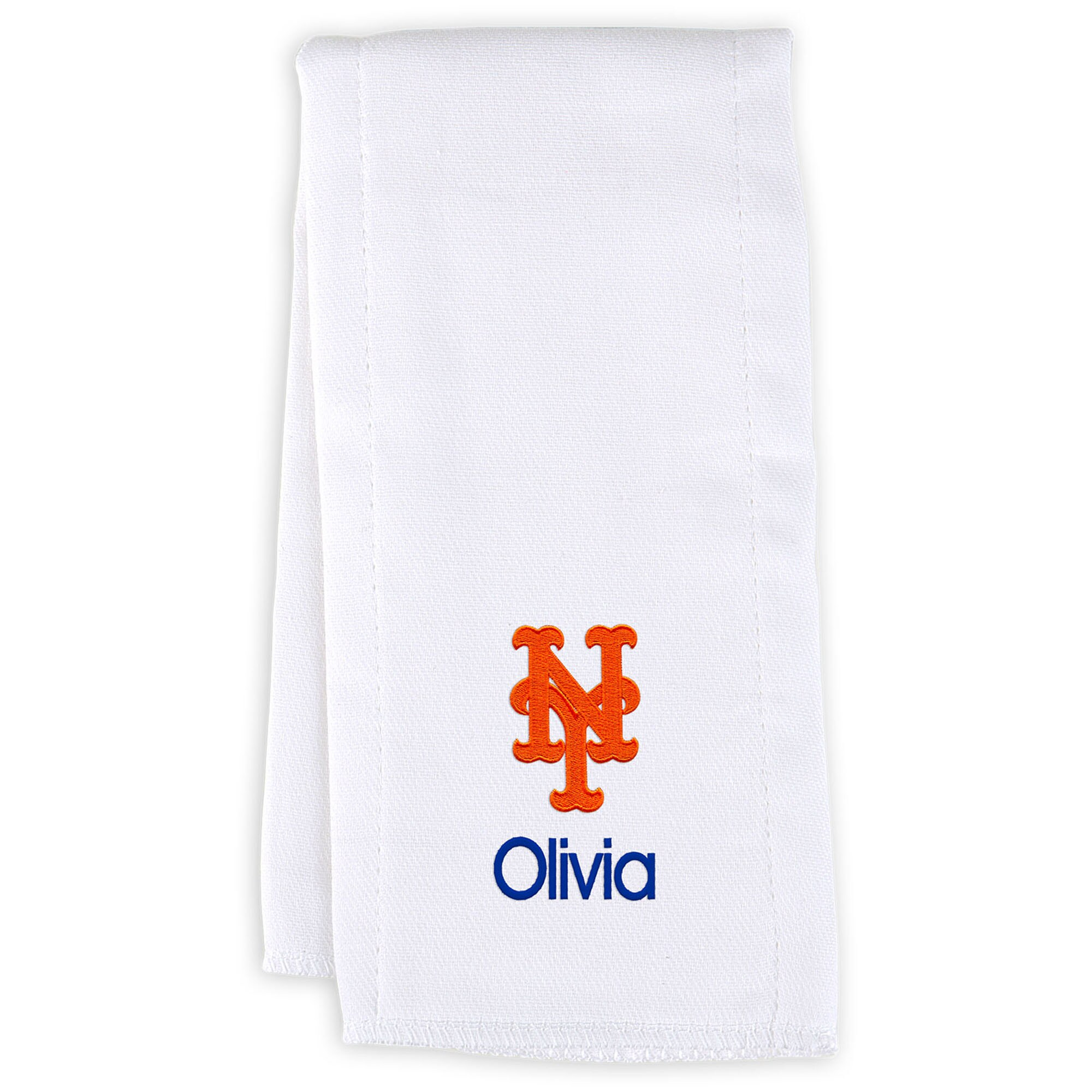 New York Mets Infant Personalized Burp Cloth - White