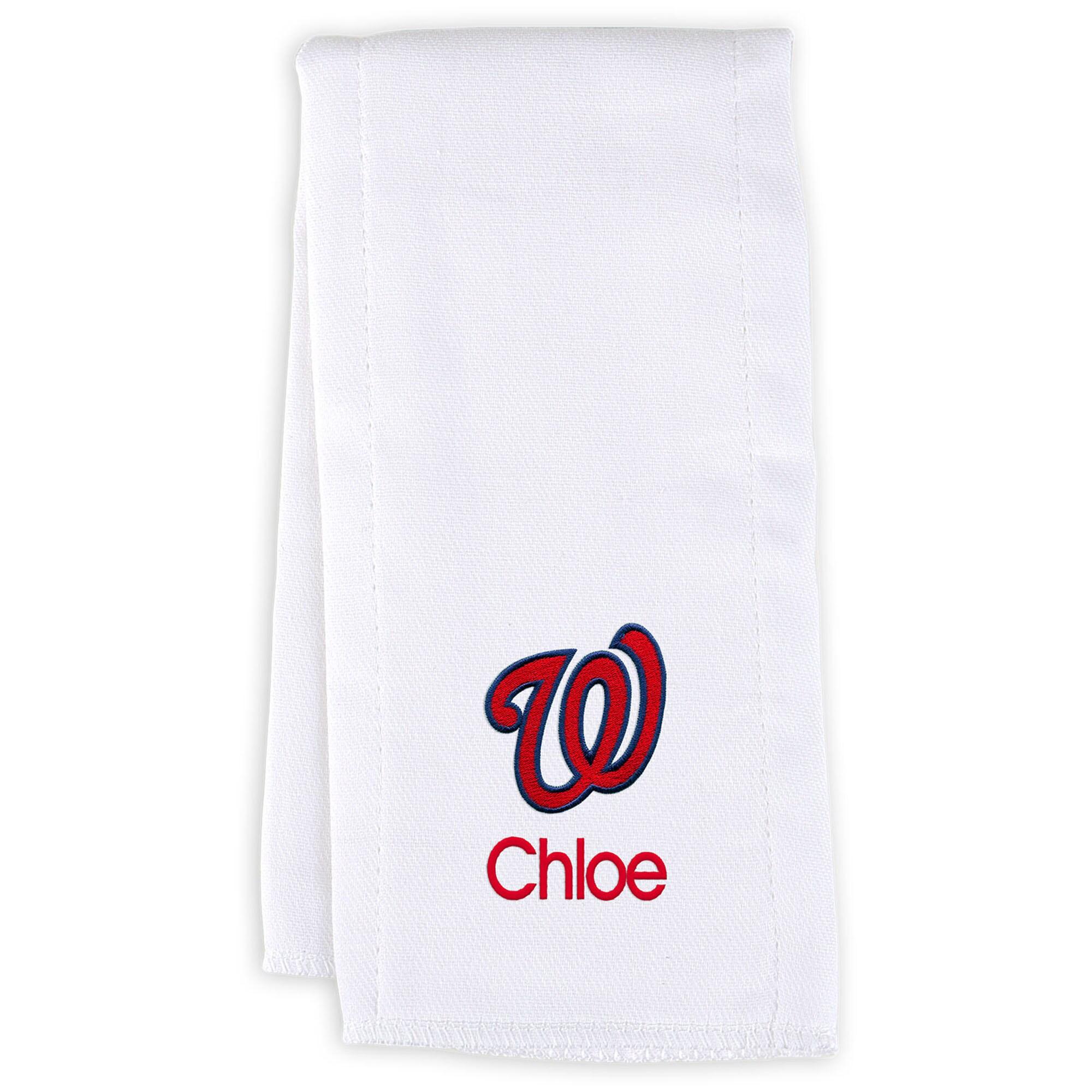 Washington Nationals Infant Personalized Burp Cloth - White