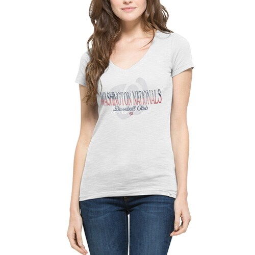 Washington Nationals '47 Women's Stars & Stripes Scrum V-Neck T-Shirt - White