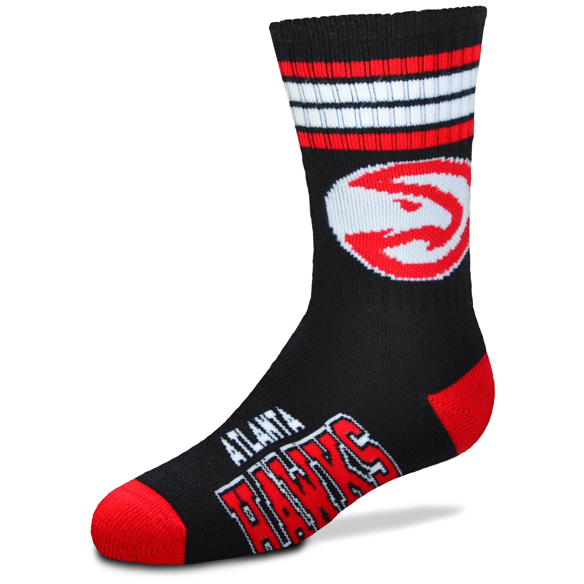 Atlanta Hawks For Bare Feet Youth 4-Stripe Deuce Quarter-Length Socks