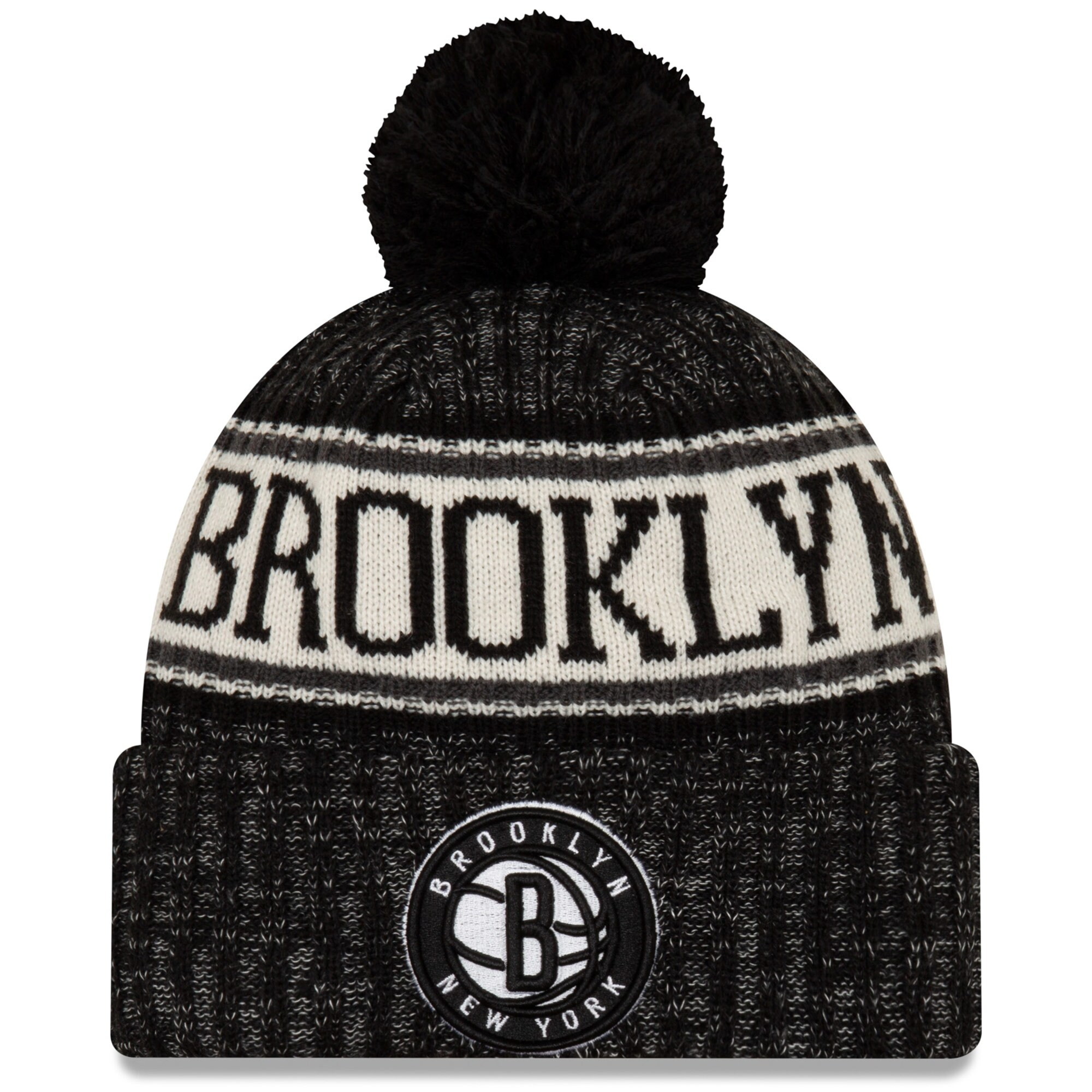 Brooklyn Nets New Era Sport Cuffed Knit Hat with Pom - Black