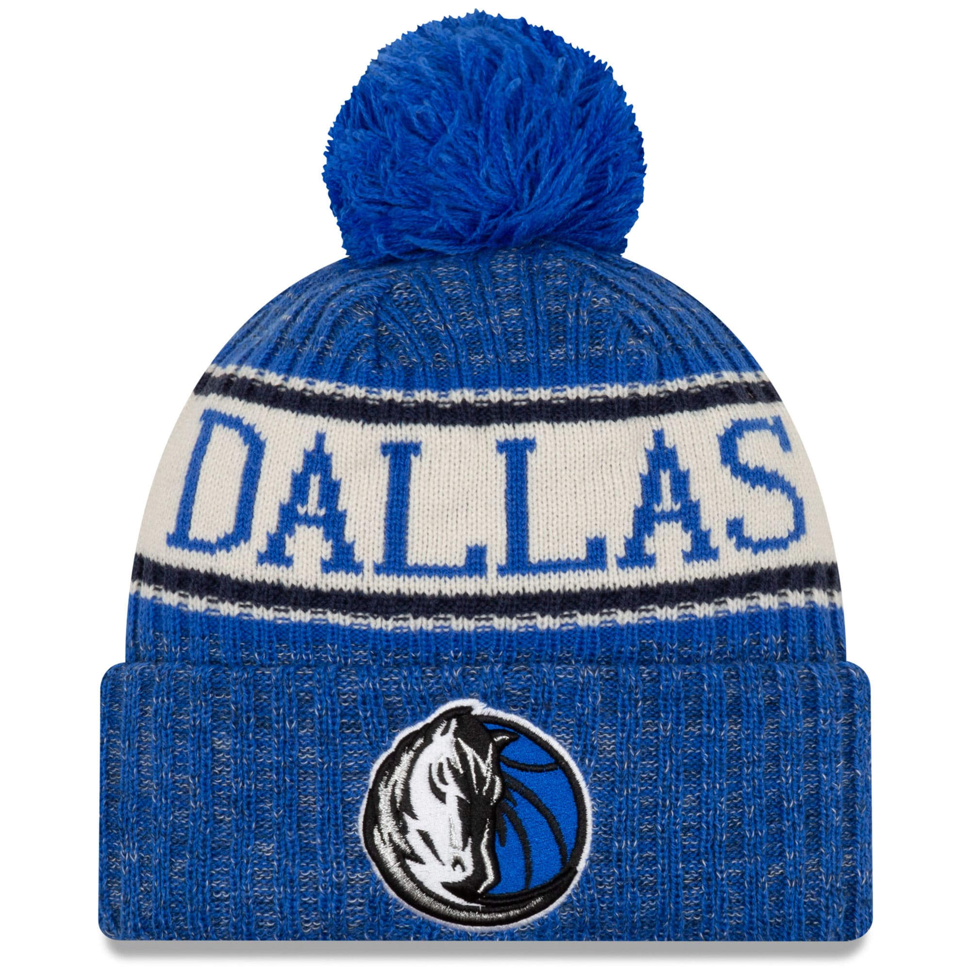 Dallas Mavericks New Era Sport Cuffed Knit Hat with Pom - Blue