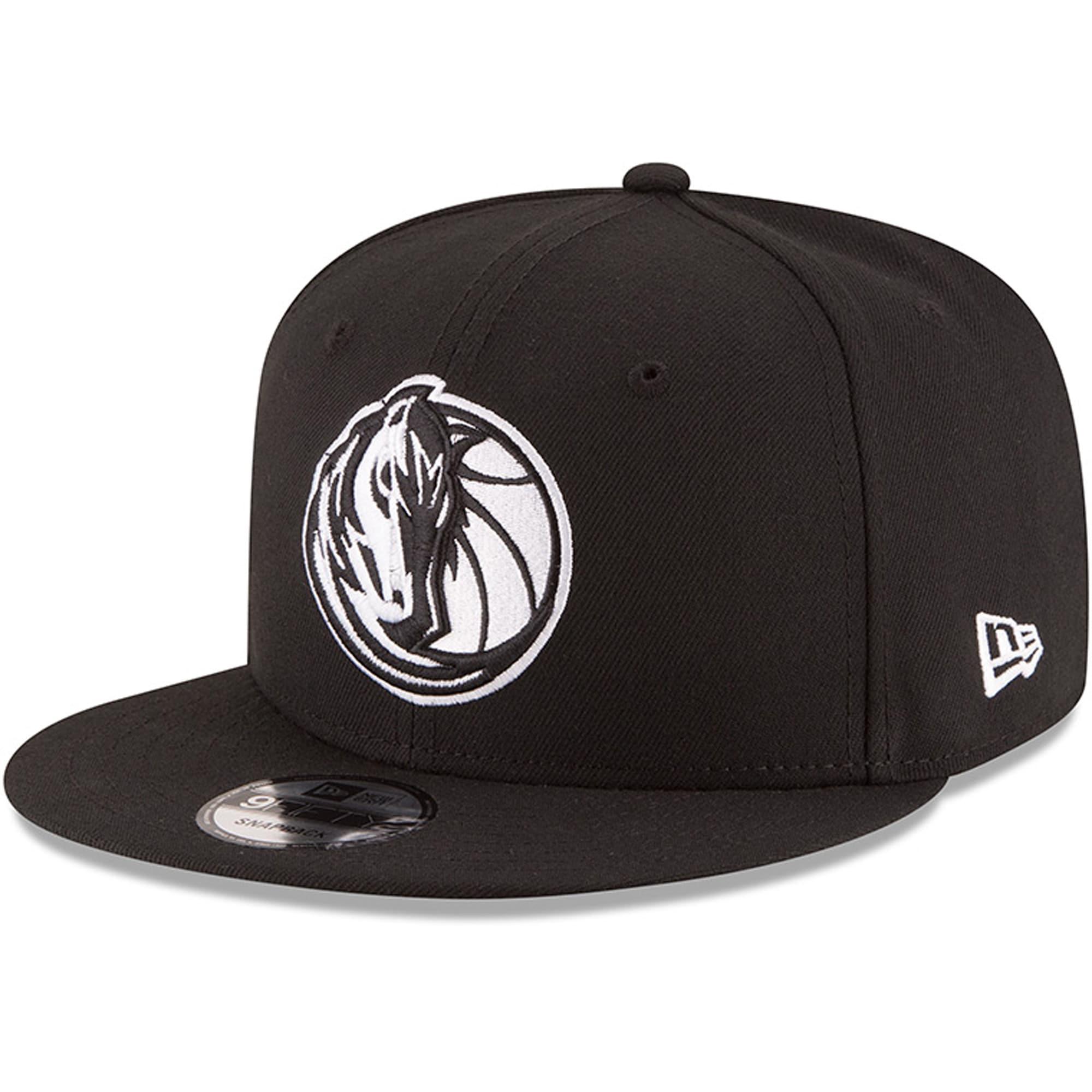 Dallas Mavericks New Era Black & White Logo 9FIFTY Adjustable Snapback Hat - Black