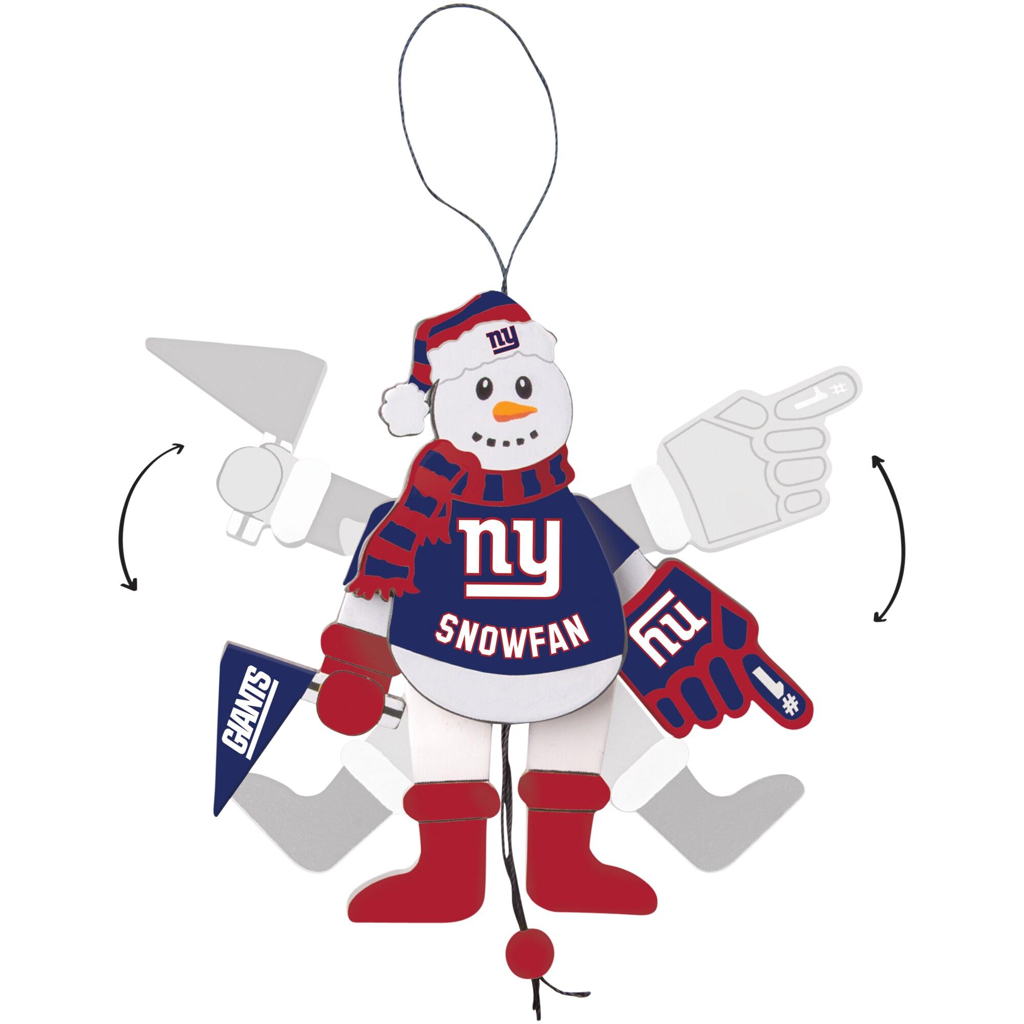 New York Giants Wood Cheering Snowman Ornament