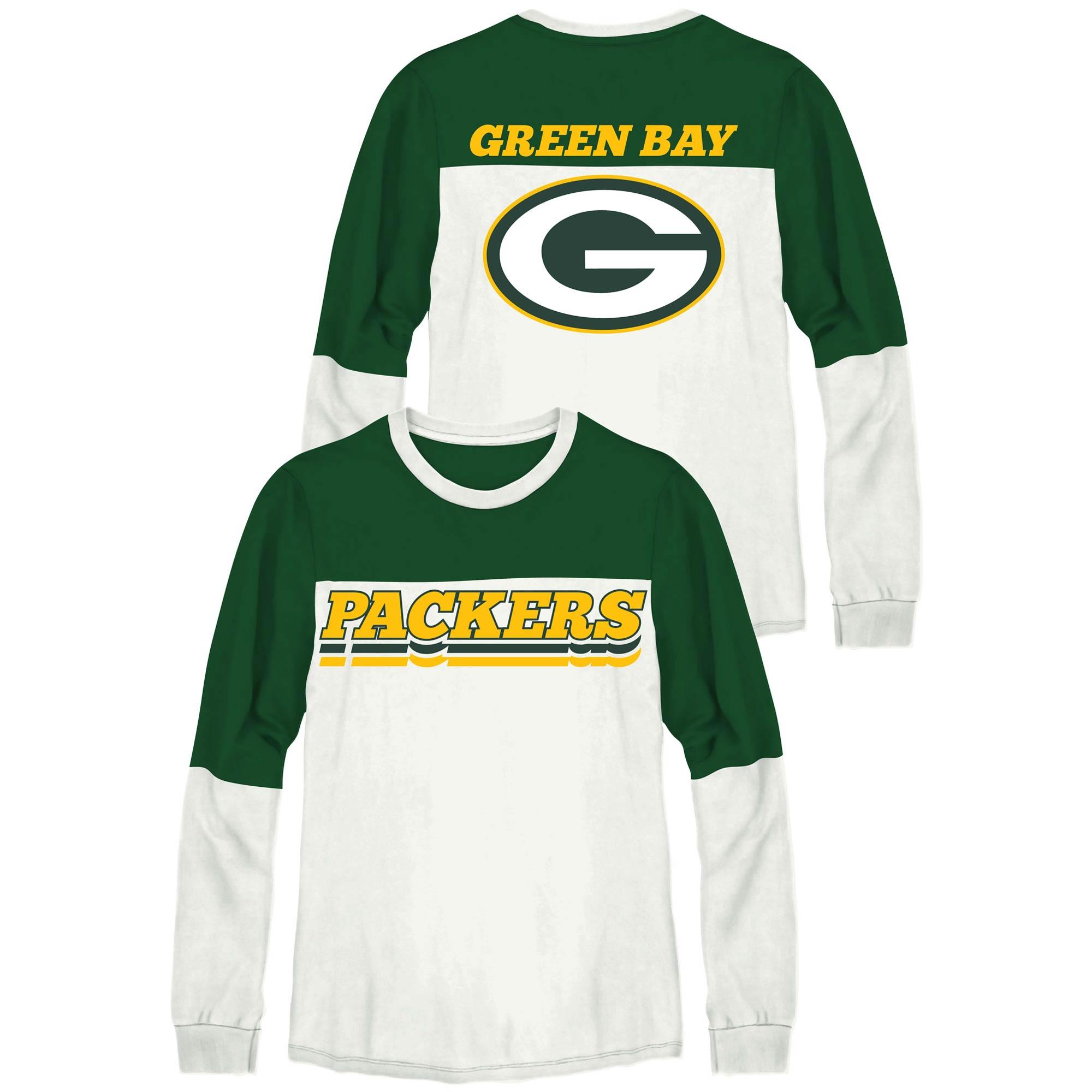 Green Bay Packers Junk Food Women's Comeback Long Sleeve T-Shirt - Green/White