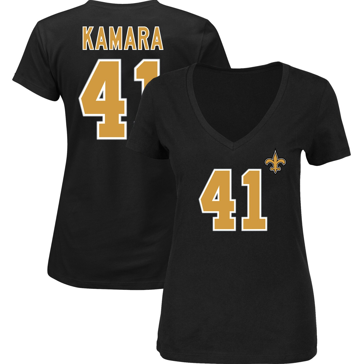 Alvin Kamara New Orleans Saints Majestic Women's Plus Size Fair Catch Name & Number V-Neck T-Shirt - Black