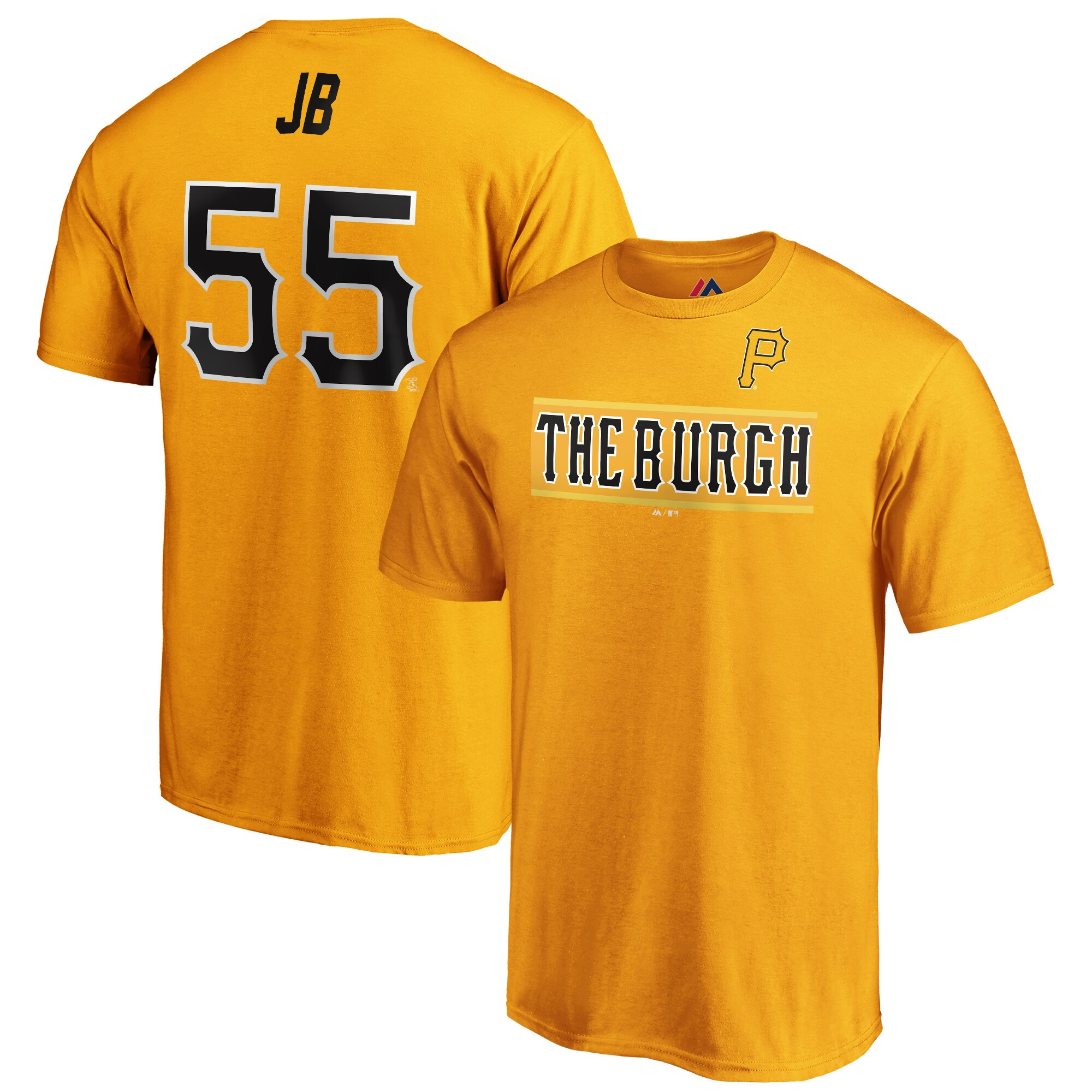"Josh Bell ""JB"" Pittsburgh Pirates Majestic 2019 MLB Little League Classic Name & Number T-Shirt - Yellow"