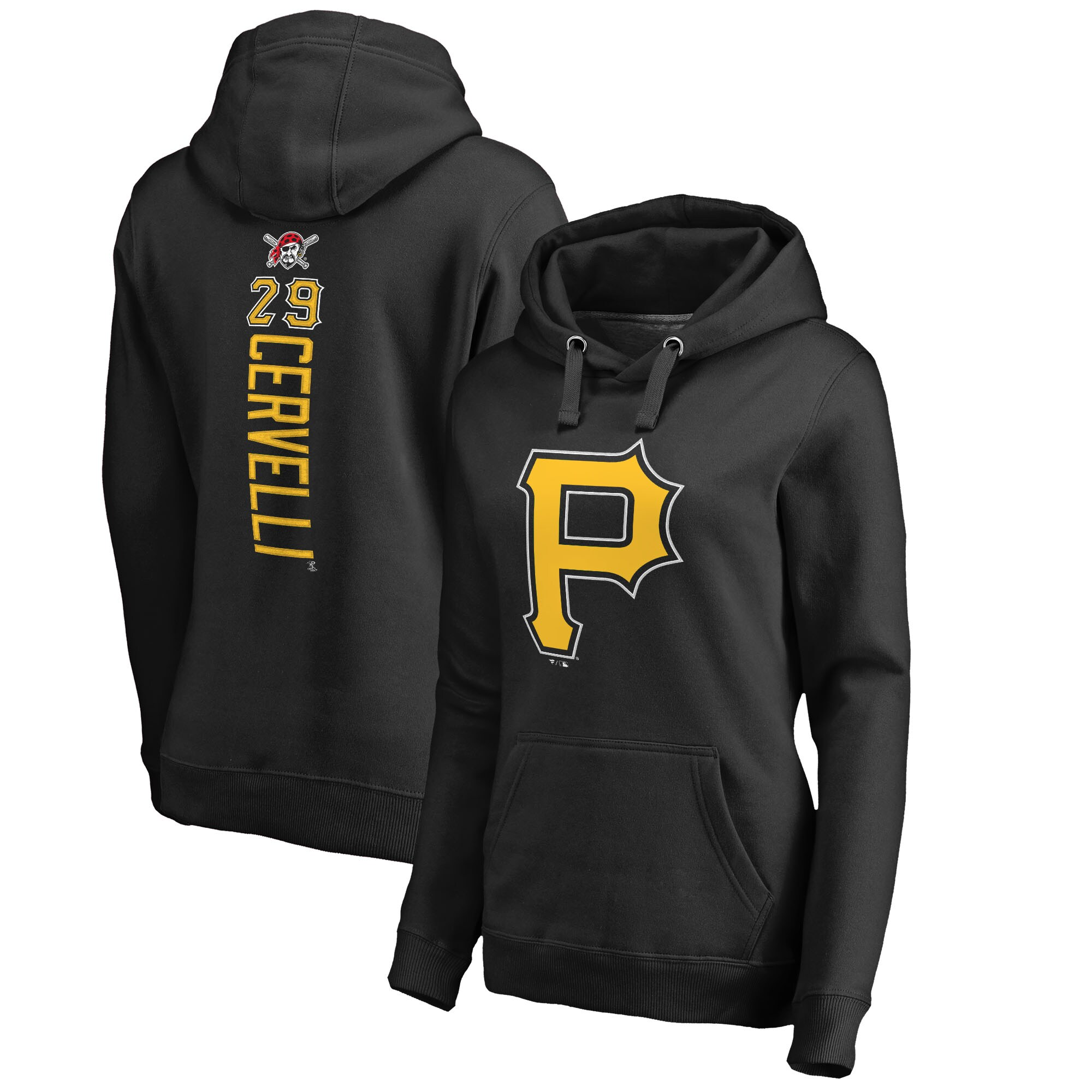 Francisco Cervelli Pittsburgh Pirates Fanatics Branded Women's Backer Pullover Hoodie - Black