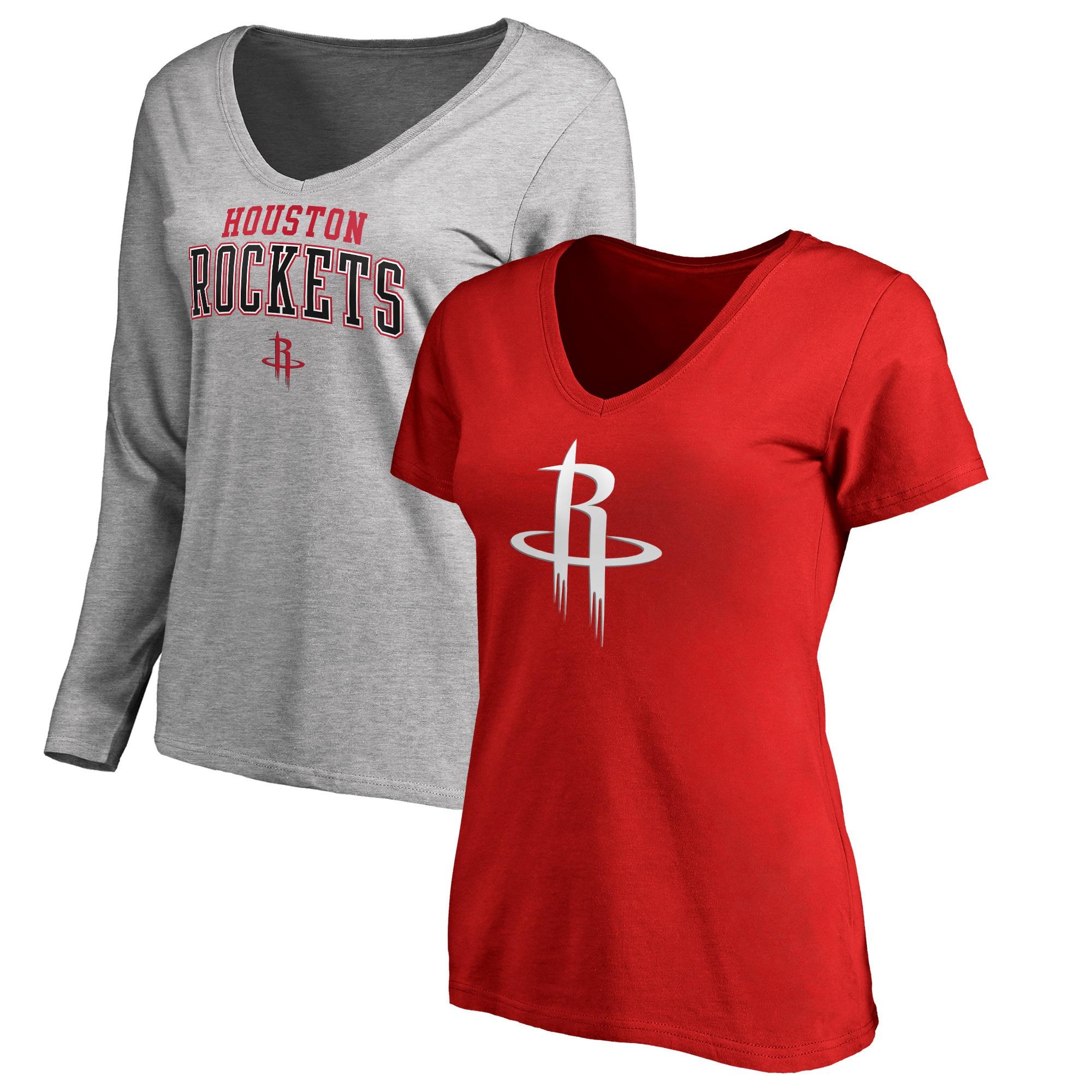 Houston Rockets Fanatics Branded Women's Square V-Neck T-Shirt Combo Set - Red/Gray