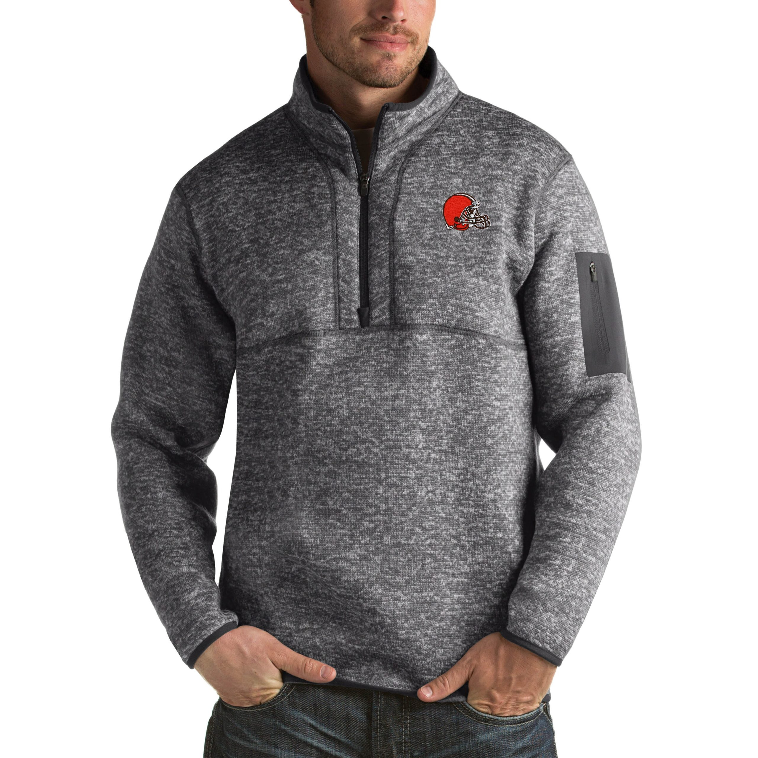 Cleveland Browns Antigua Fortune Big & Tall Quarter-Zip Pullover Jacket - Charcoal