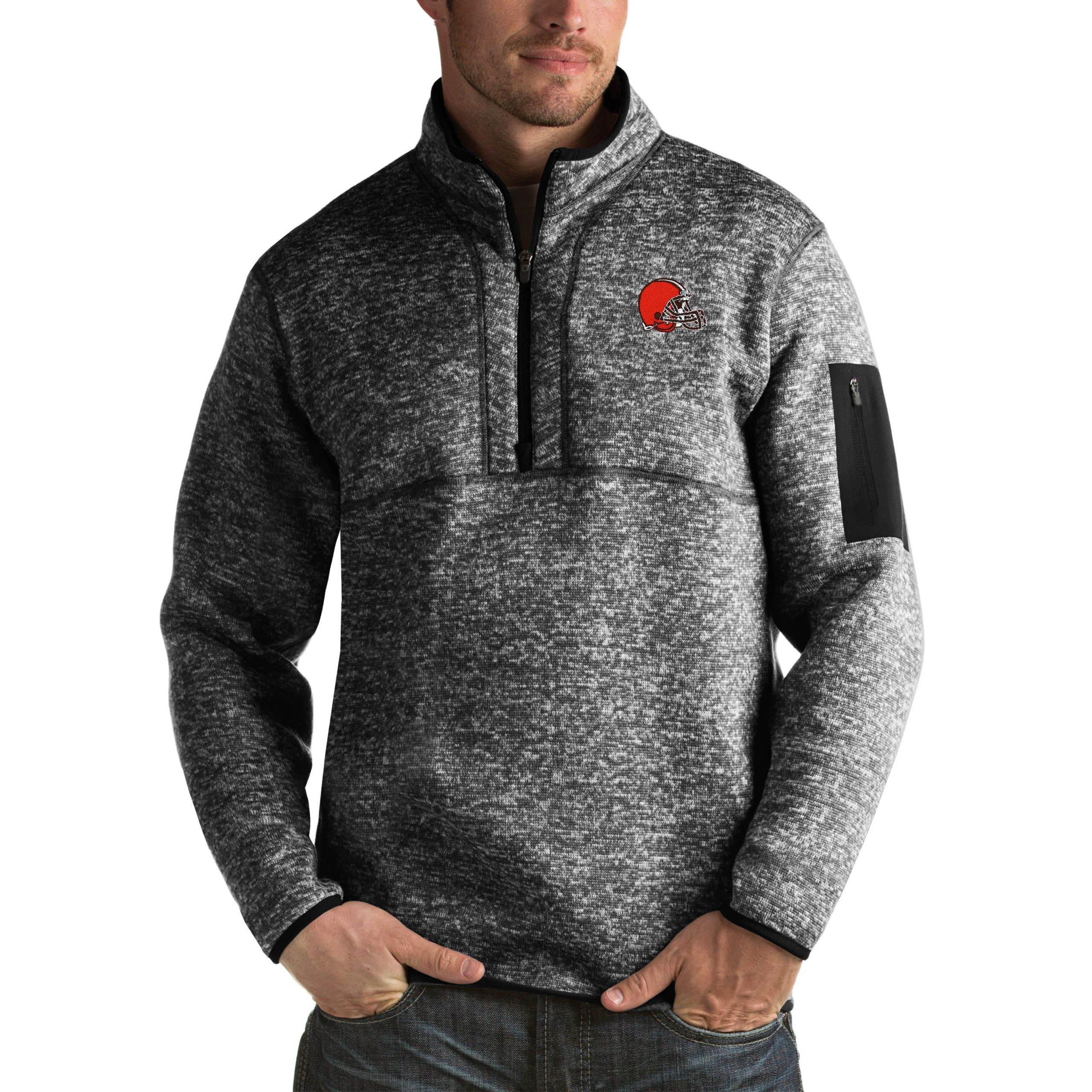 Cleveland Browns Antigua Fortune Big & Tall Quarter-Zip Pullover Jacket - Heather Black