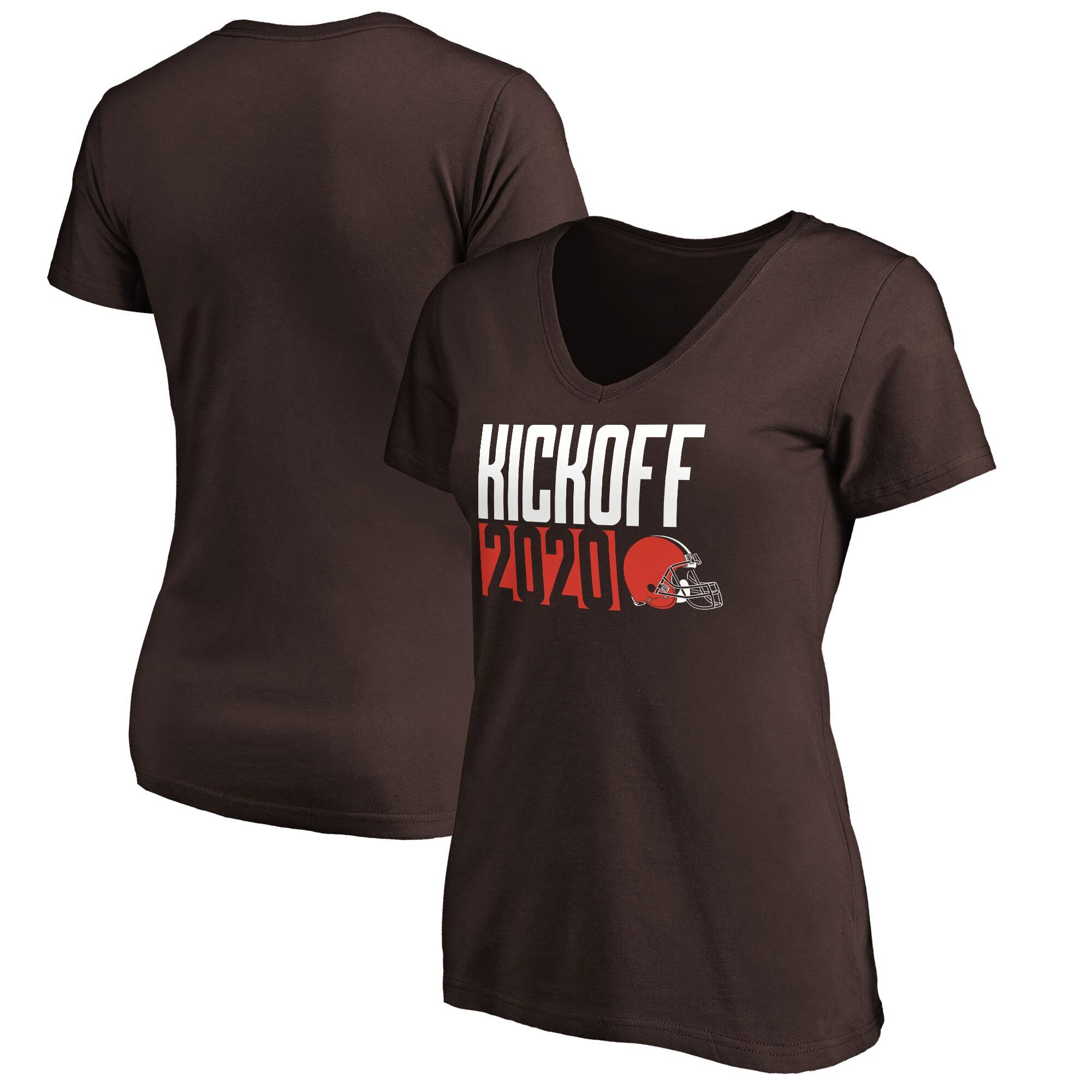 Cleveland Browns Fanatics Branded Women's Kickoff 2020 V-Neck T-Shirt - Brown