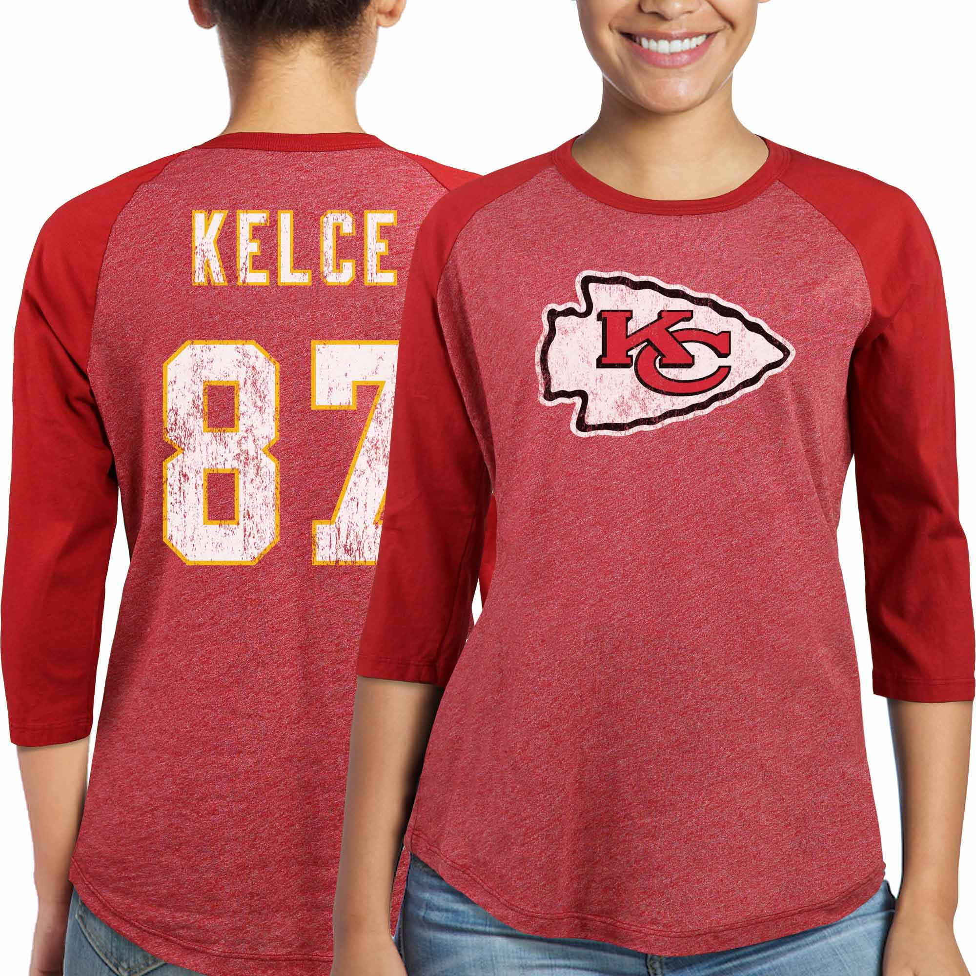 Travis Kelce Kansas City Chiefs Majestic Women's Player Name & Number Tri-Blend Three-Quarter Sleeve T-Shirt - Red