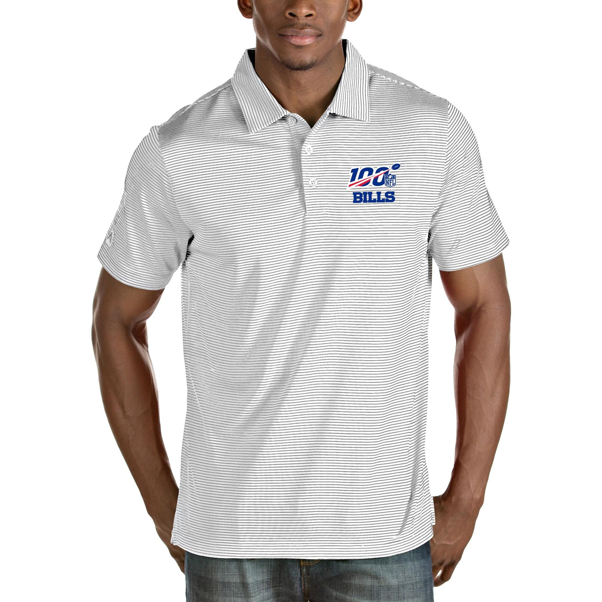 Buffalo Bills Antigua NFL 100 Quest Polo - White/Silver