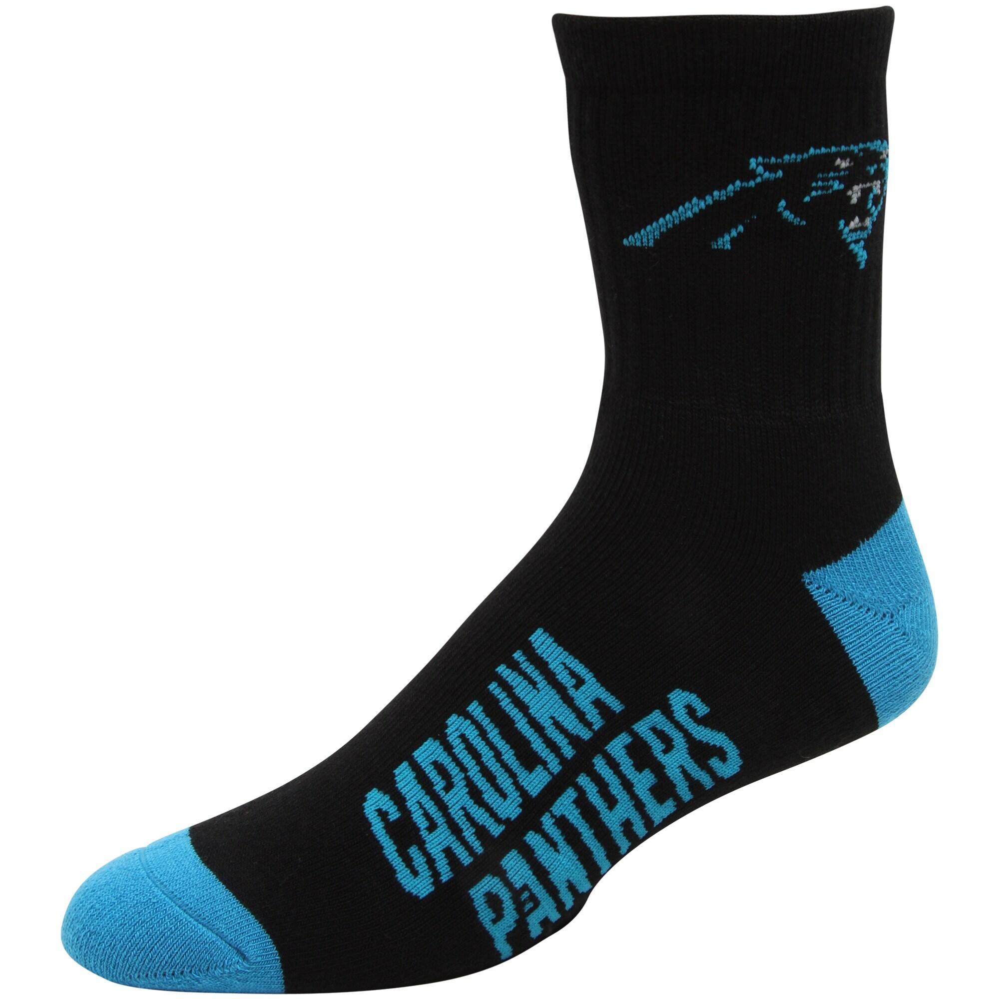 Carolina Panthers For Bare Feet Team Color Quarter-Length Socks