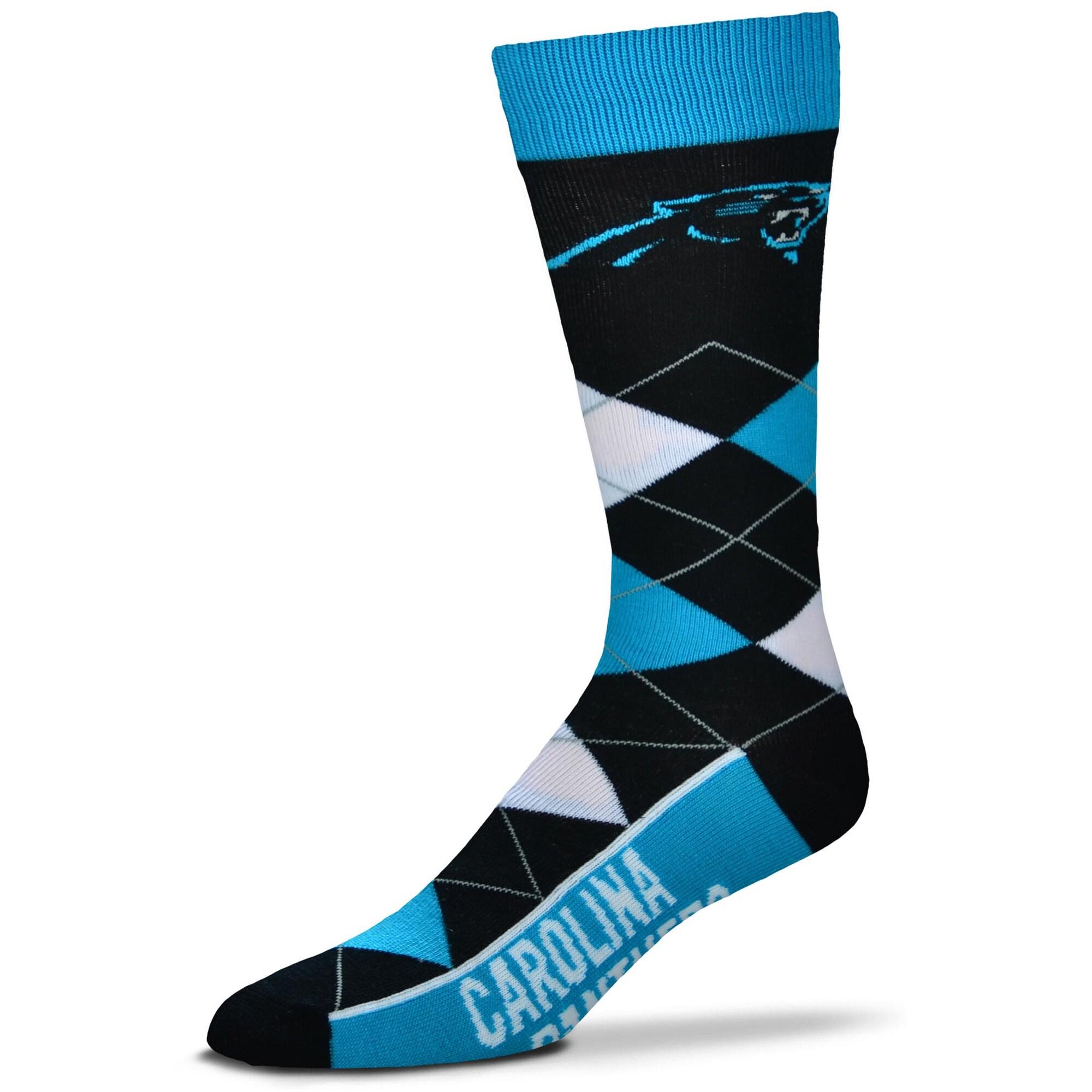 Carolina Panthers For Bare Feet Argyle Crew Socks