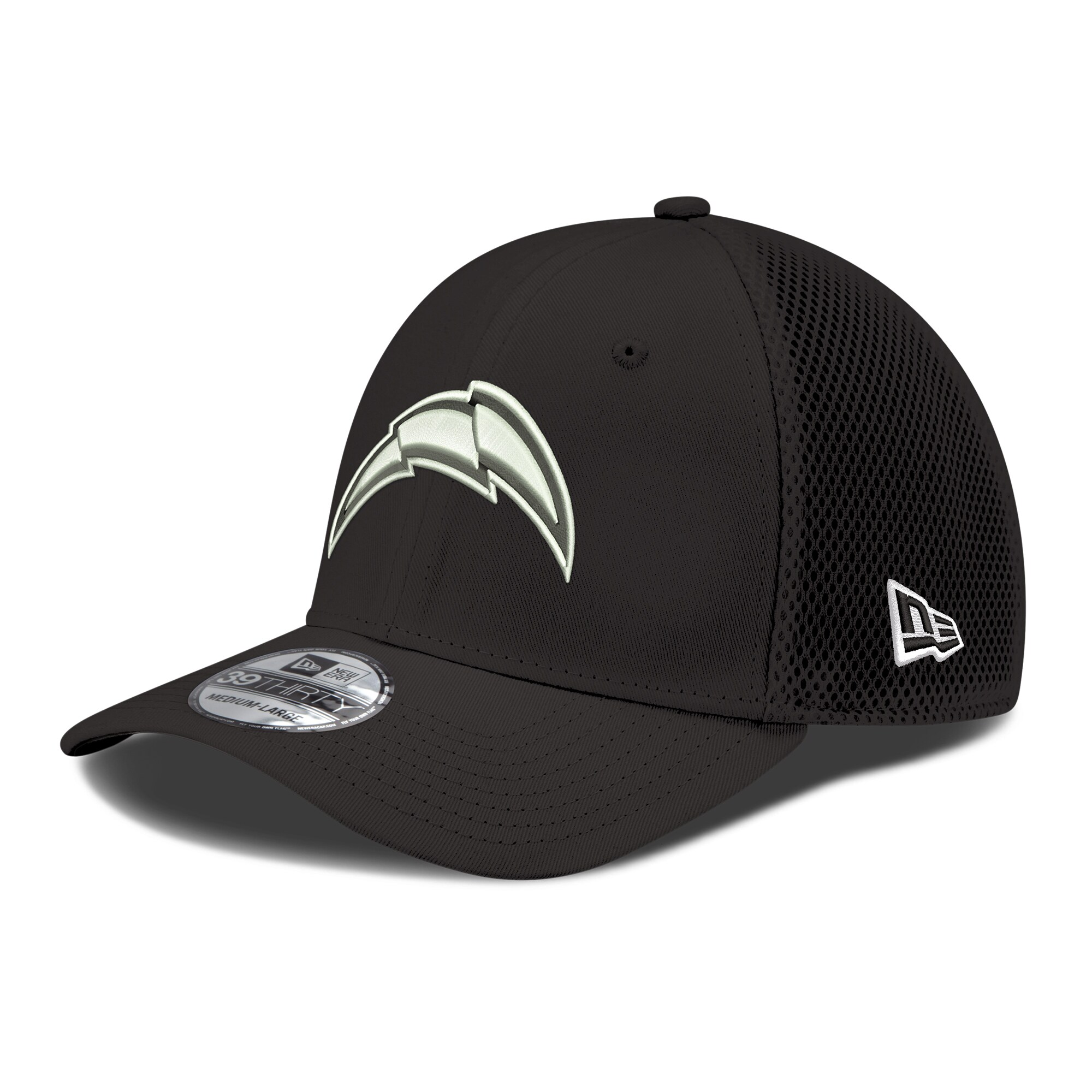 Los Angeles Chargers New Era Black & White Neo Team 39THIRTY Flex Hat - Black