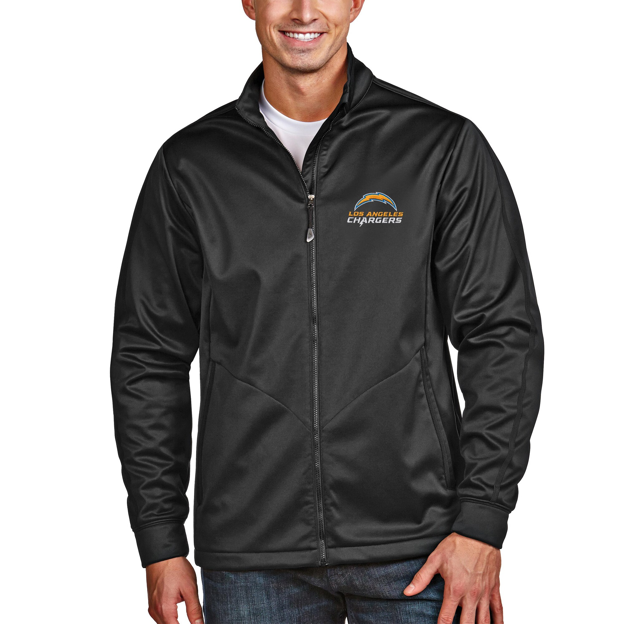 Los Angeles Chargers Antigua Full-Zip Golf Jacket - Black