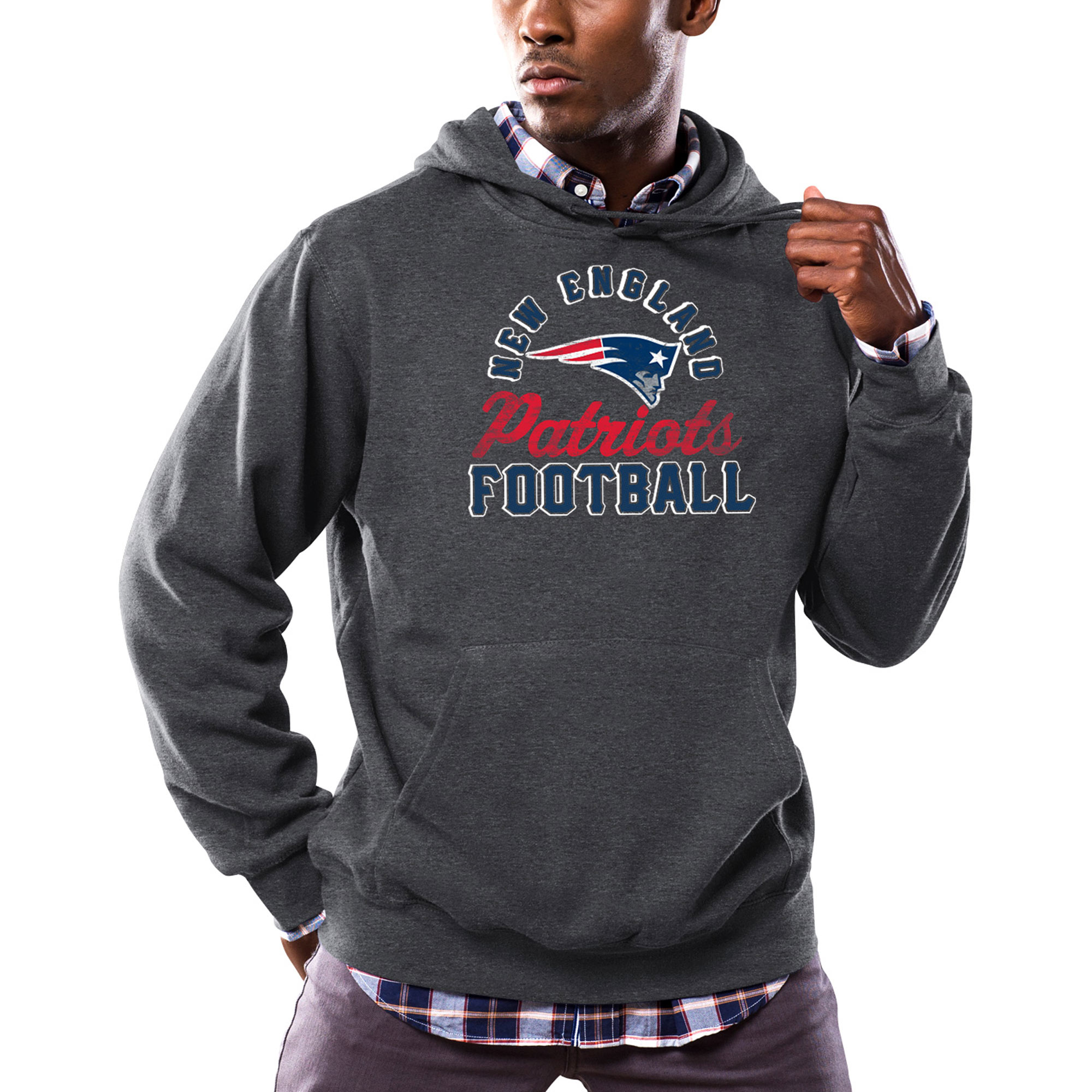 New England Patriots Majestic Kick Return Pullover Hoodie - Heathered Charcoal