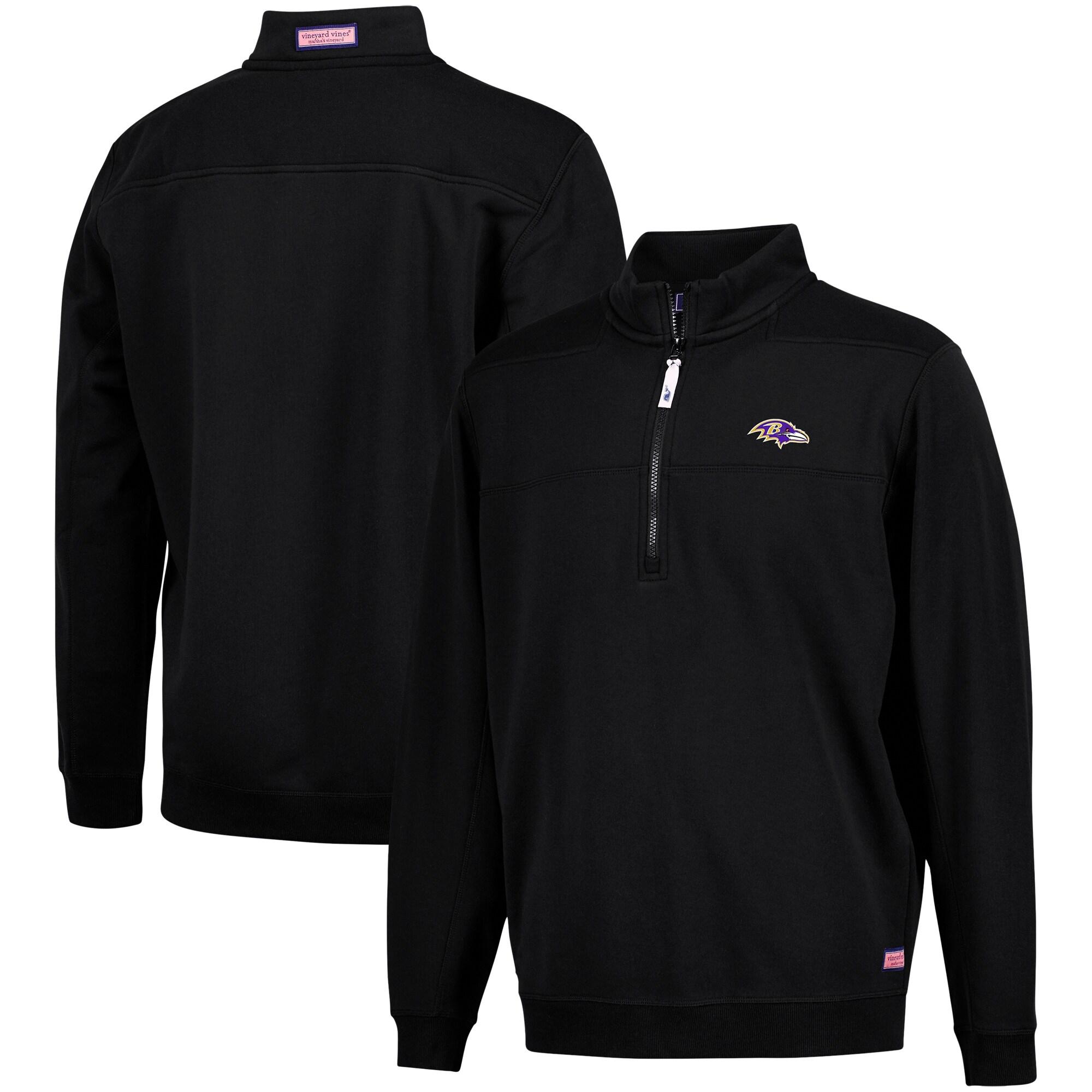 Baltimore Ravens Vineyard Vines Collegiate Shep Shirt Quarter-Zip Pullover Jacket - Black